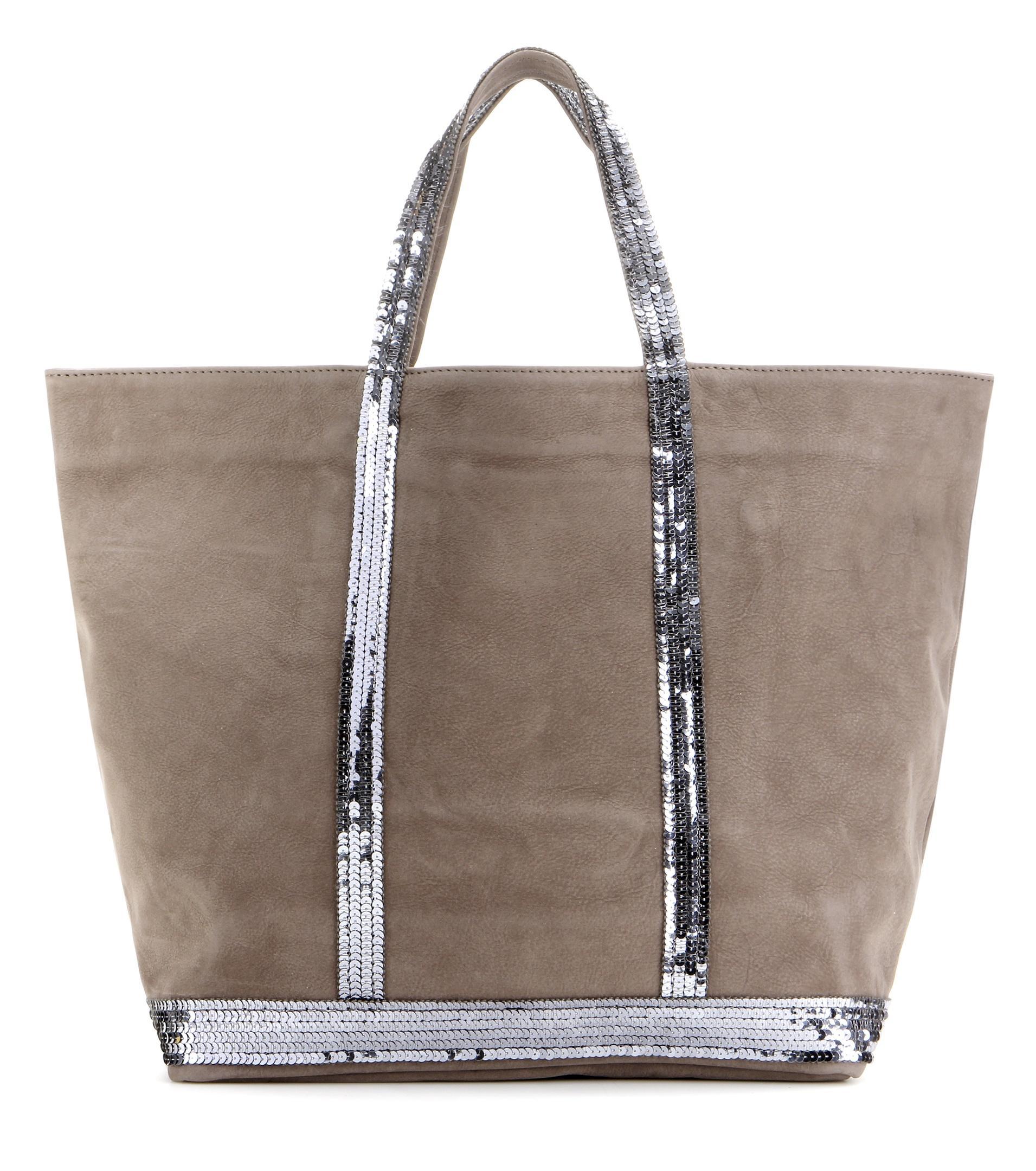 lyst vanessa bruno cabas medium embellished leather shopper in gray. Black Bedroom Furniture Sets. Home Design Ideas