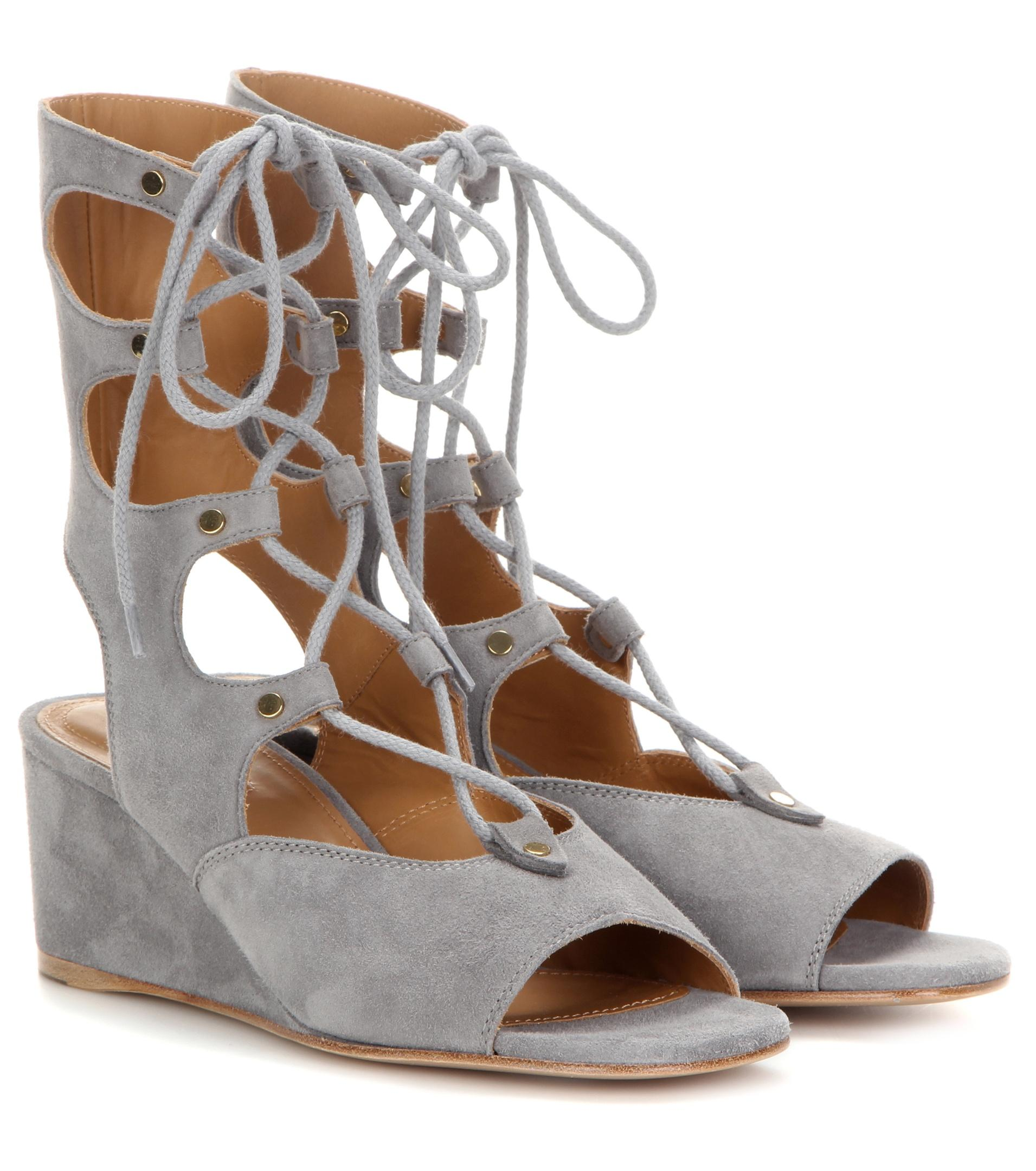 chlo 233 foster suede gladiator wedge sandals in gray lyst