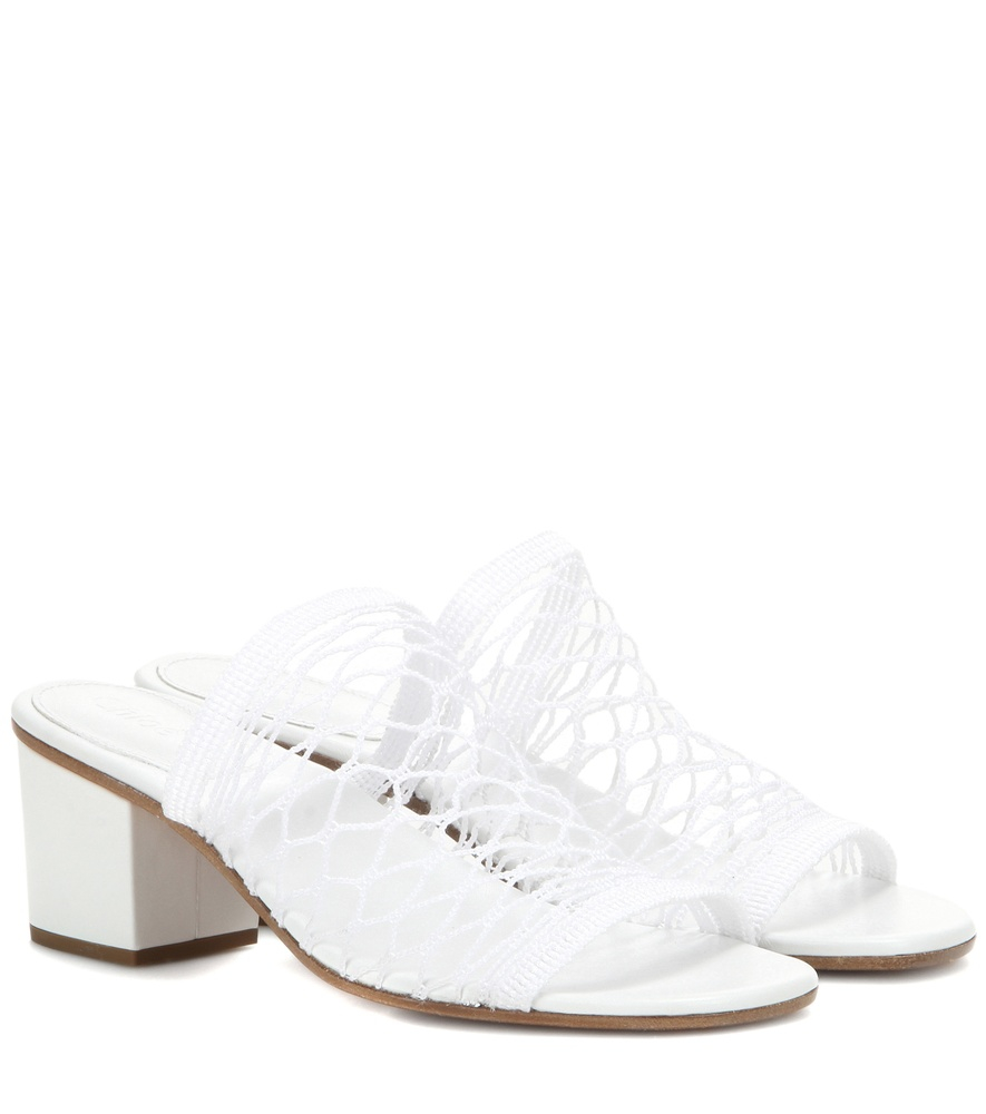 White Jake Mesh Sandals by Chloe