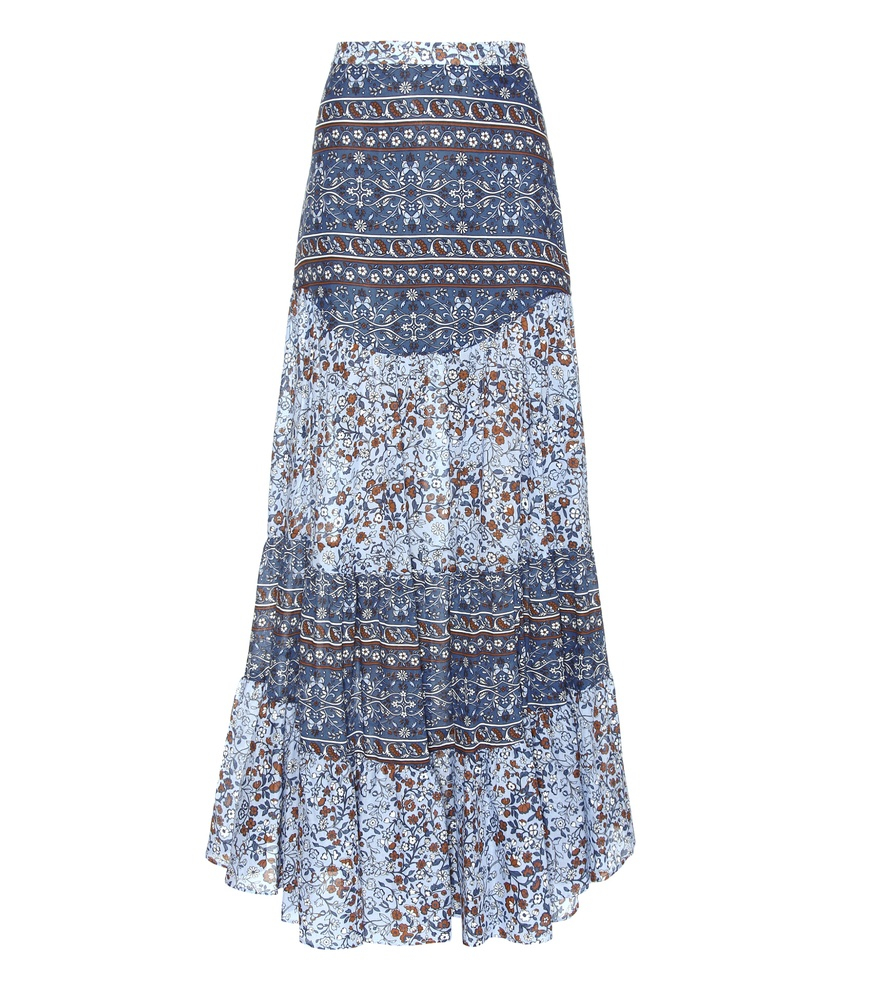 see by chlo 233 printed cotton maxi skirt in blue lyst