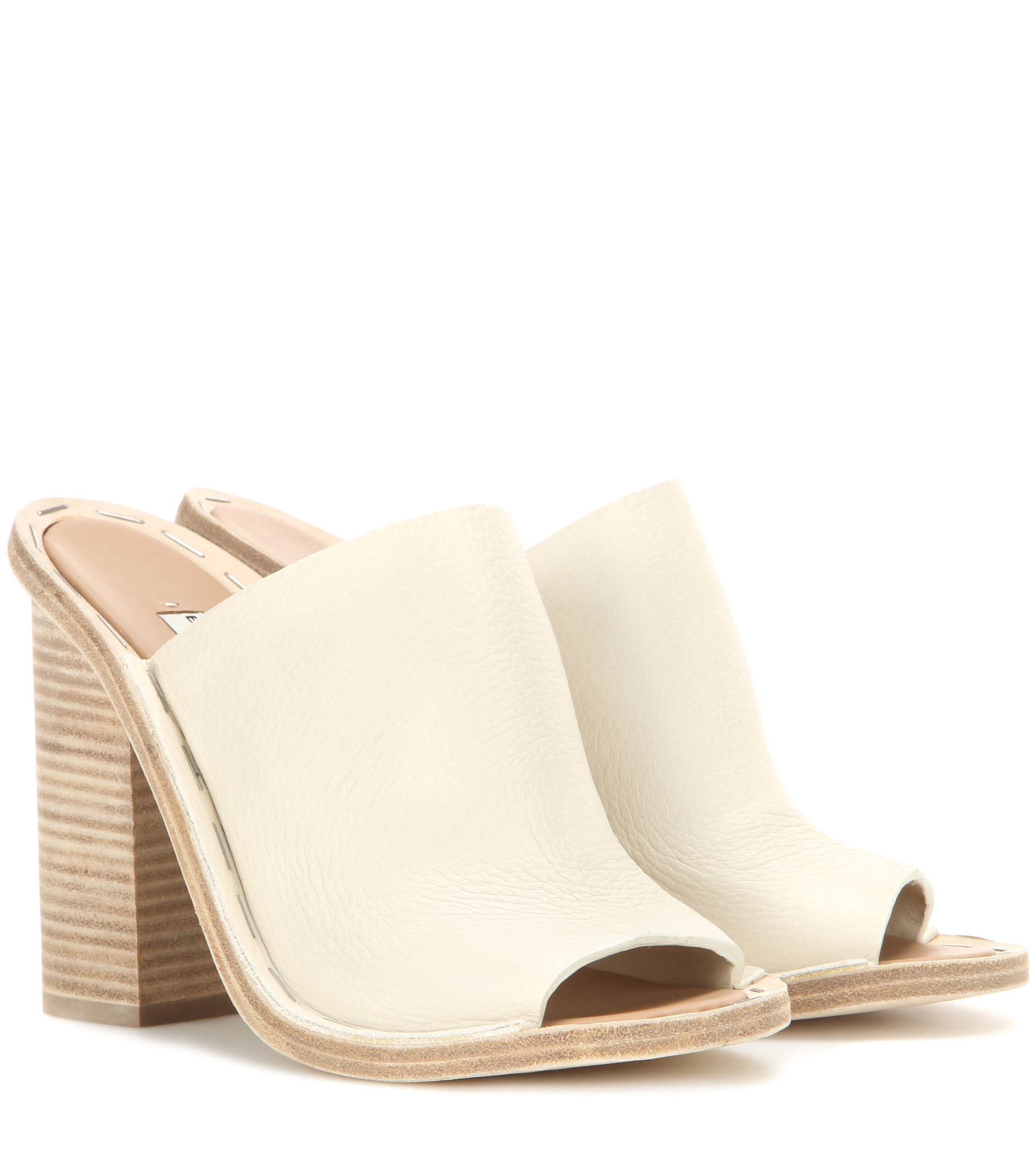 Balenciaga Leather Mules In Natural Lyst