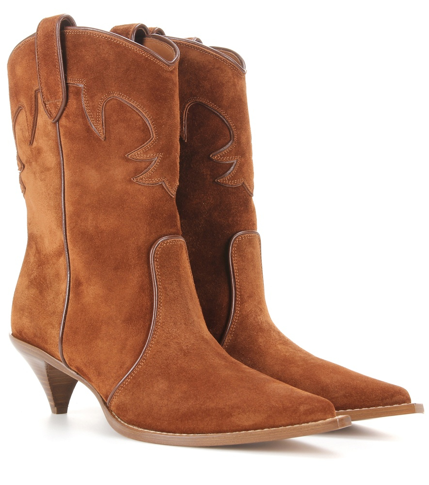 miu miu suede cowboy boots in green brown lyst