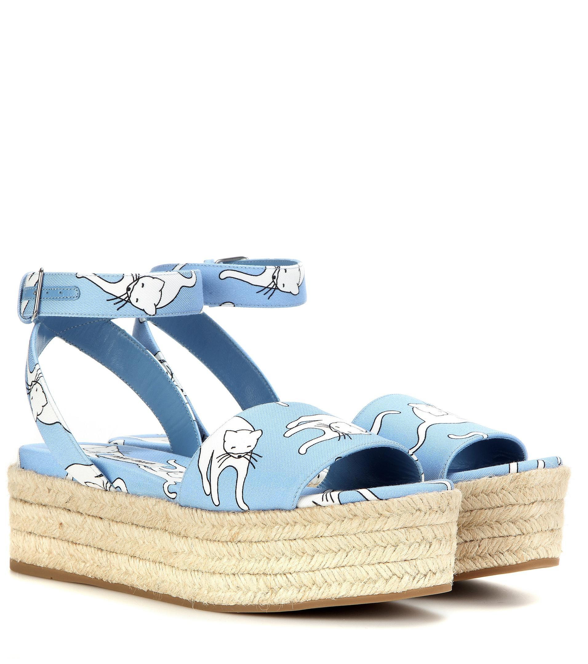 Miu Blue Lyst Fabric Platform Sandals In Printed hdsQCtxr
