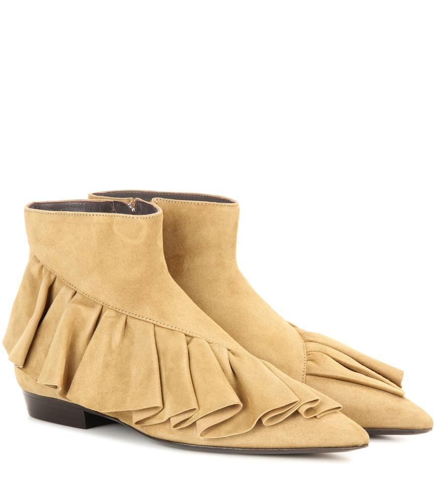 j w ruffle suede ankle boots in beige lyst