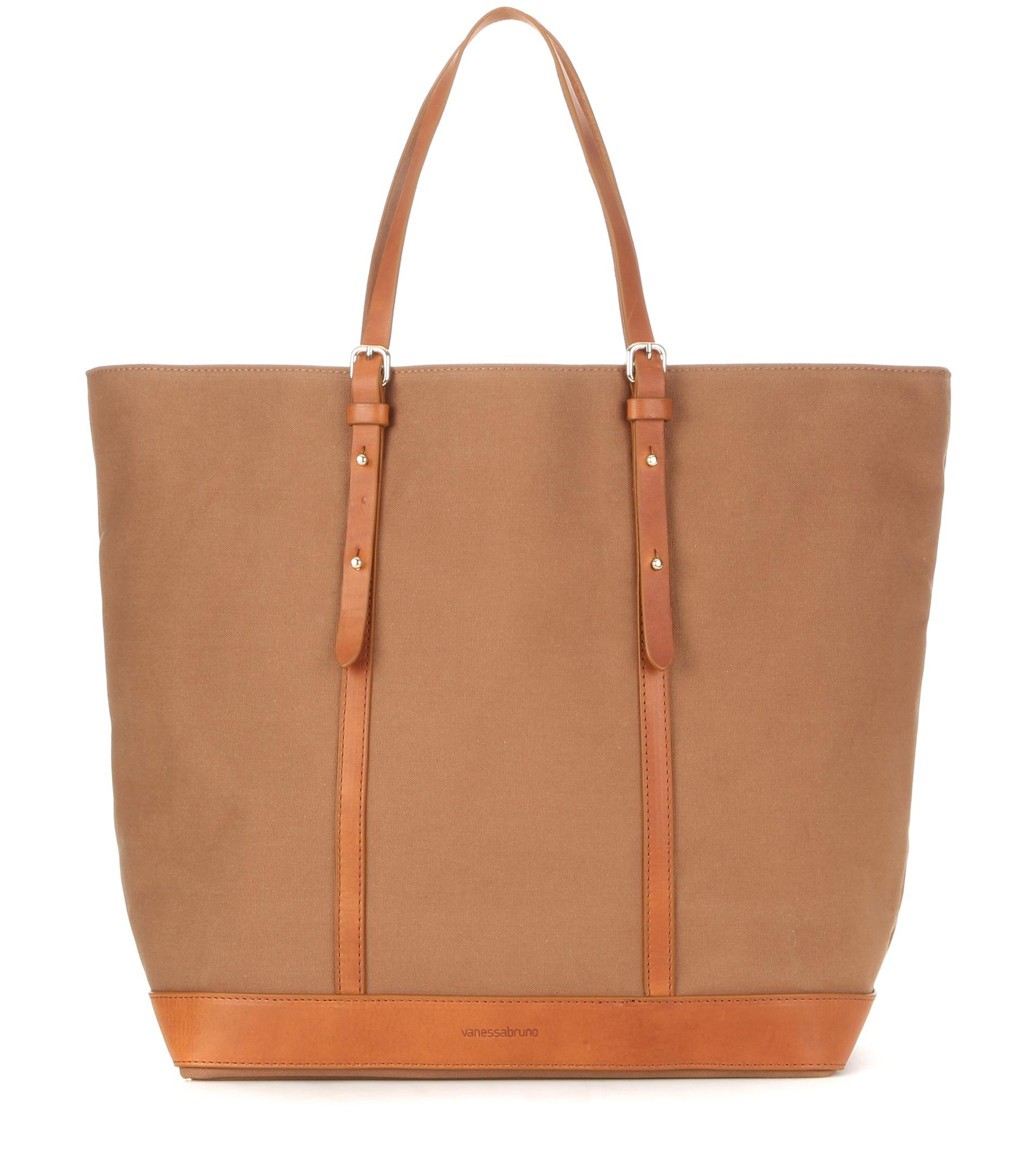 vanessa bruno cabas medium leather trimmed canvas shopper in brown lyst. Black Bedroom Furniture Sets. Home Design Ideas