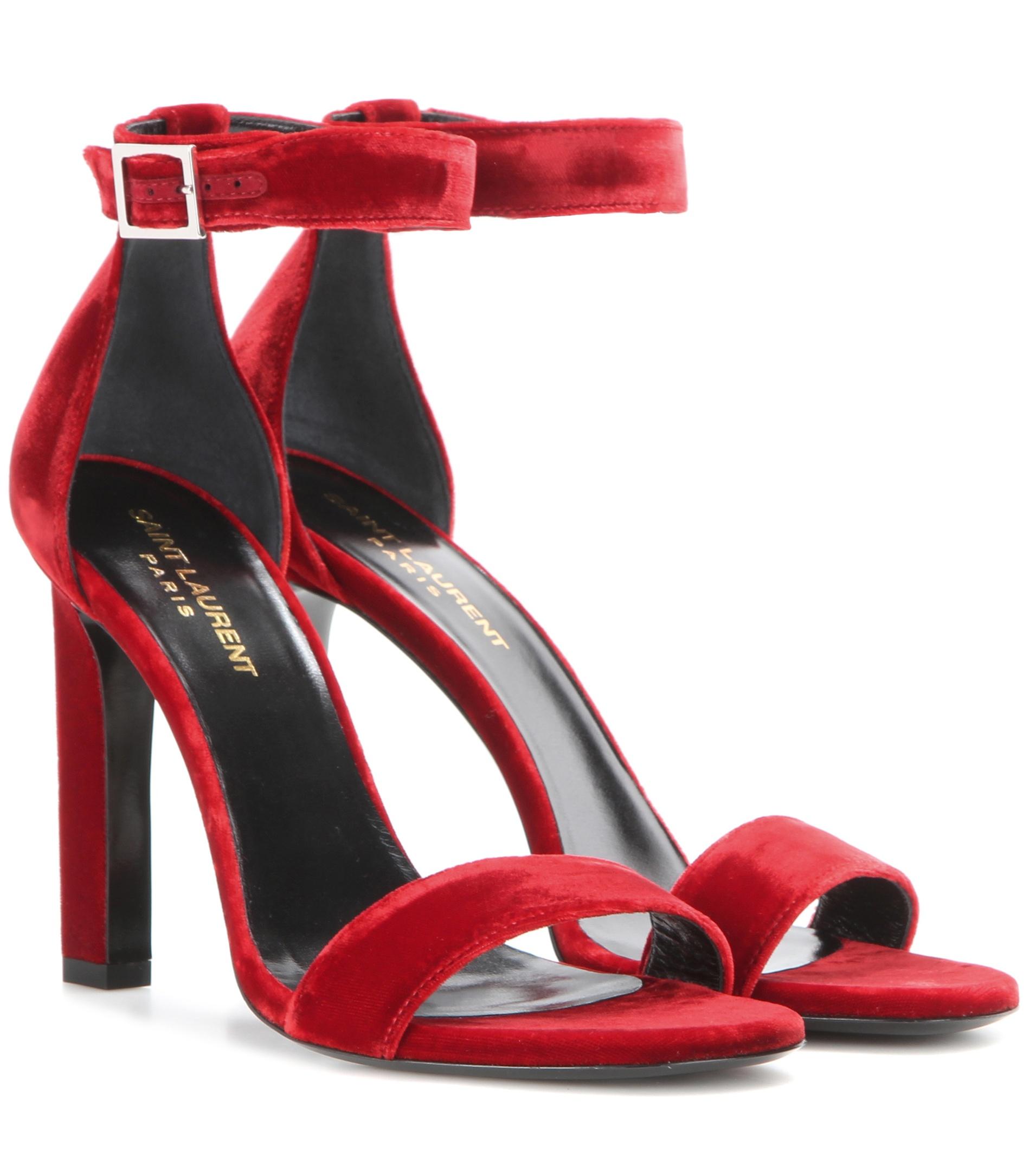 Saint Laurent Grace 80 Velvet Sandals