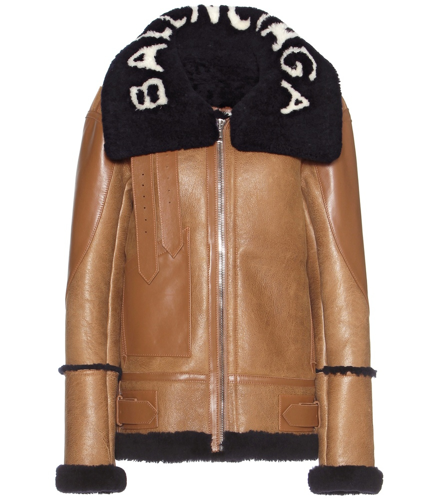 Balenciaga Shearling Lined Leather Jacket In Brown Lyst