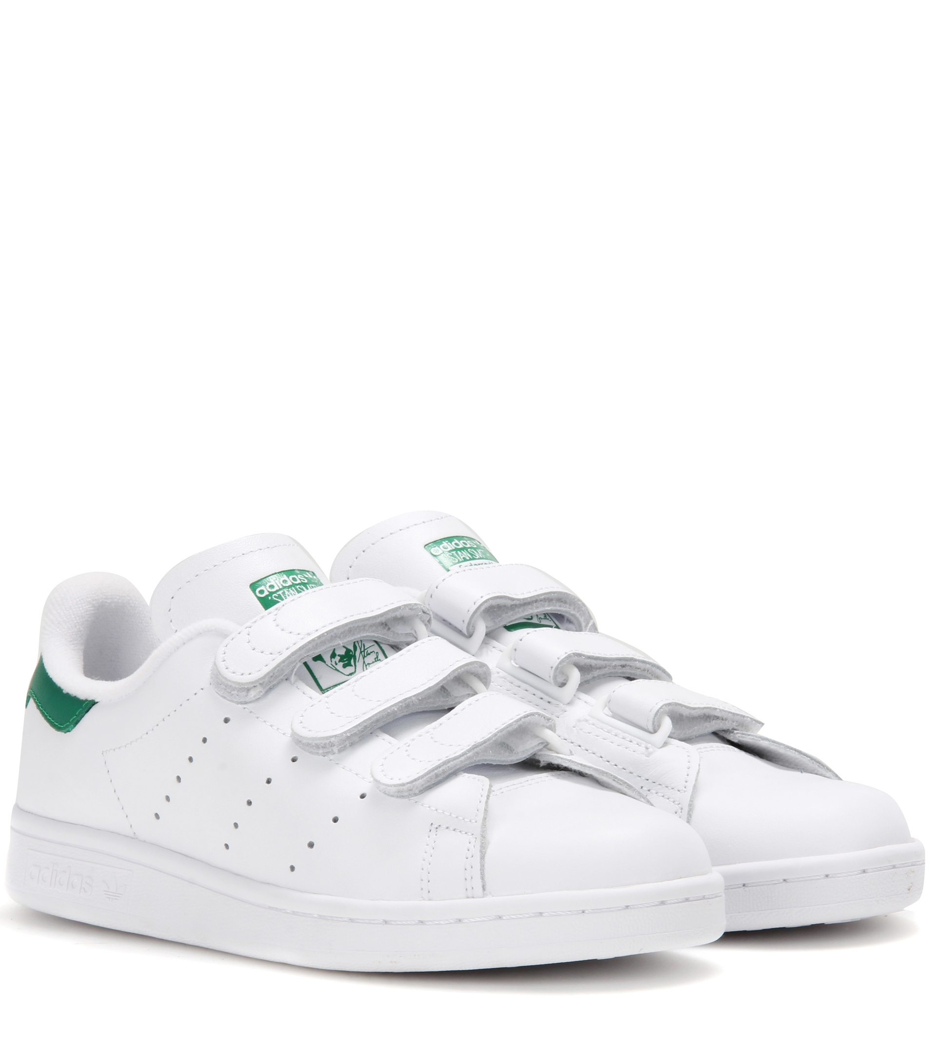 adidas Originals Leather Adidas Stan Smith - Hook & Loo in Green 22-26.5 (White)