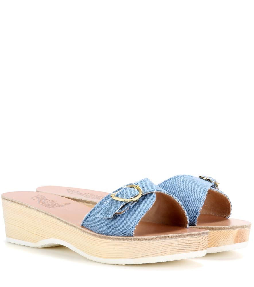ancient sandals filia sabot denim platform slip on