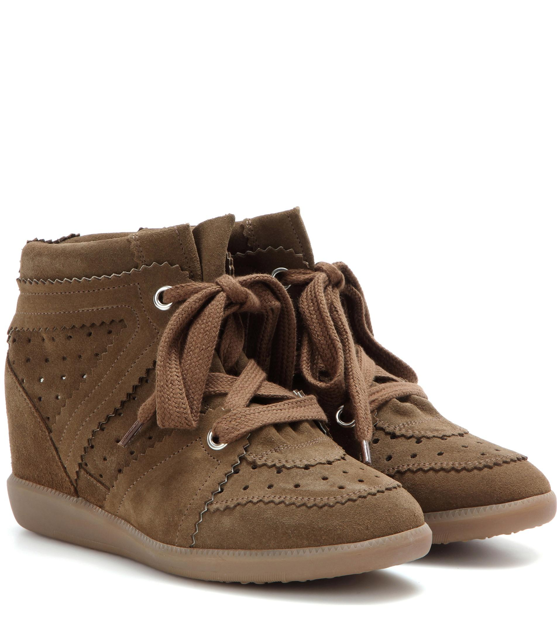 isabel marant toile bobby suede wedge sneakers in brown lyst. Black Bedroom Furniture Sets. Home Design Ideas