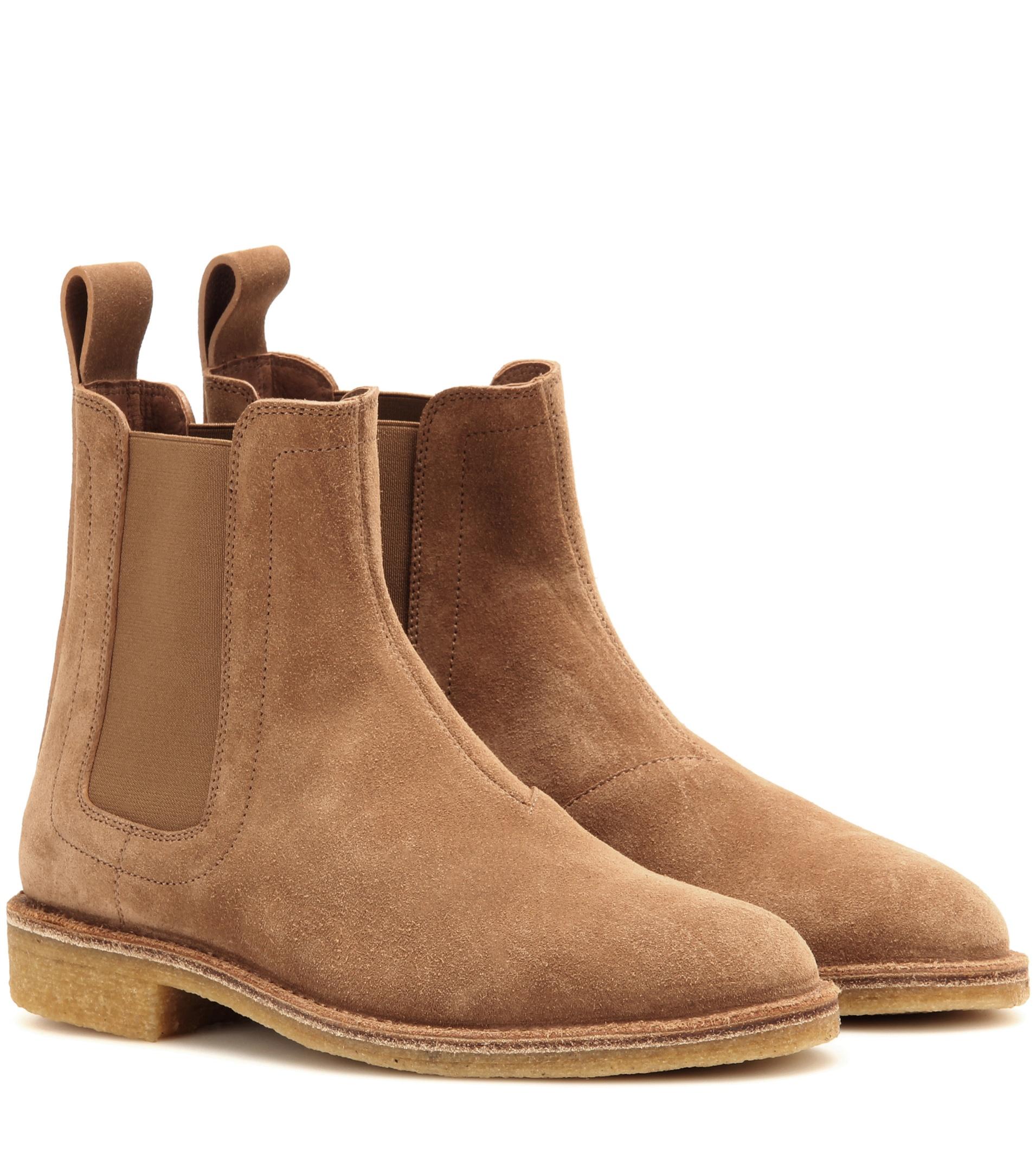 bottega veneta suede chelsea ankle boots in brown lyst