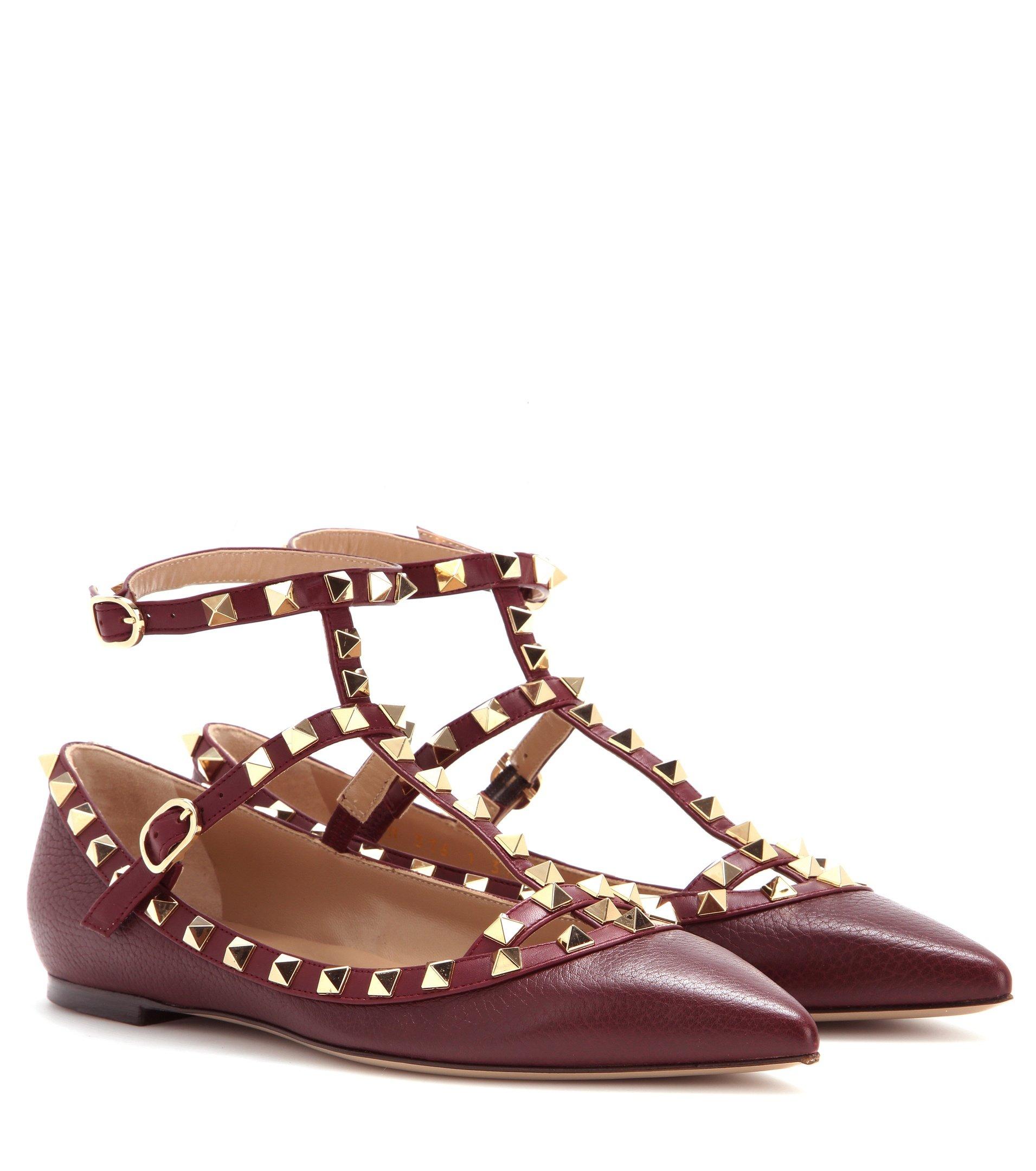 valentino garavani rockstud leather ballerinas in brown lyst. Black Bedroom Furniture Sets. Home Design Ideas
