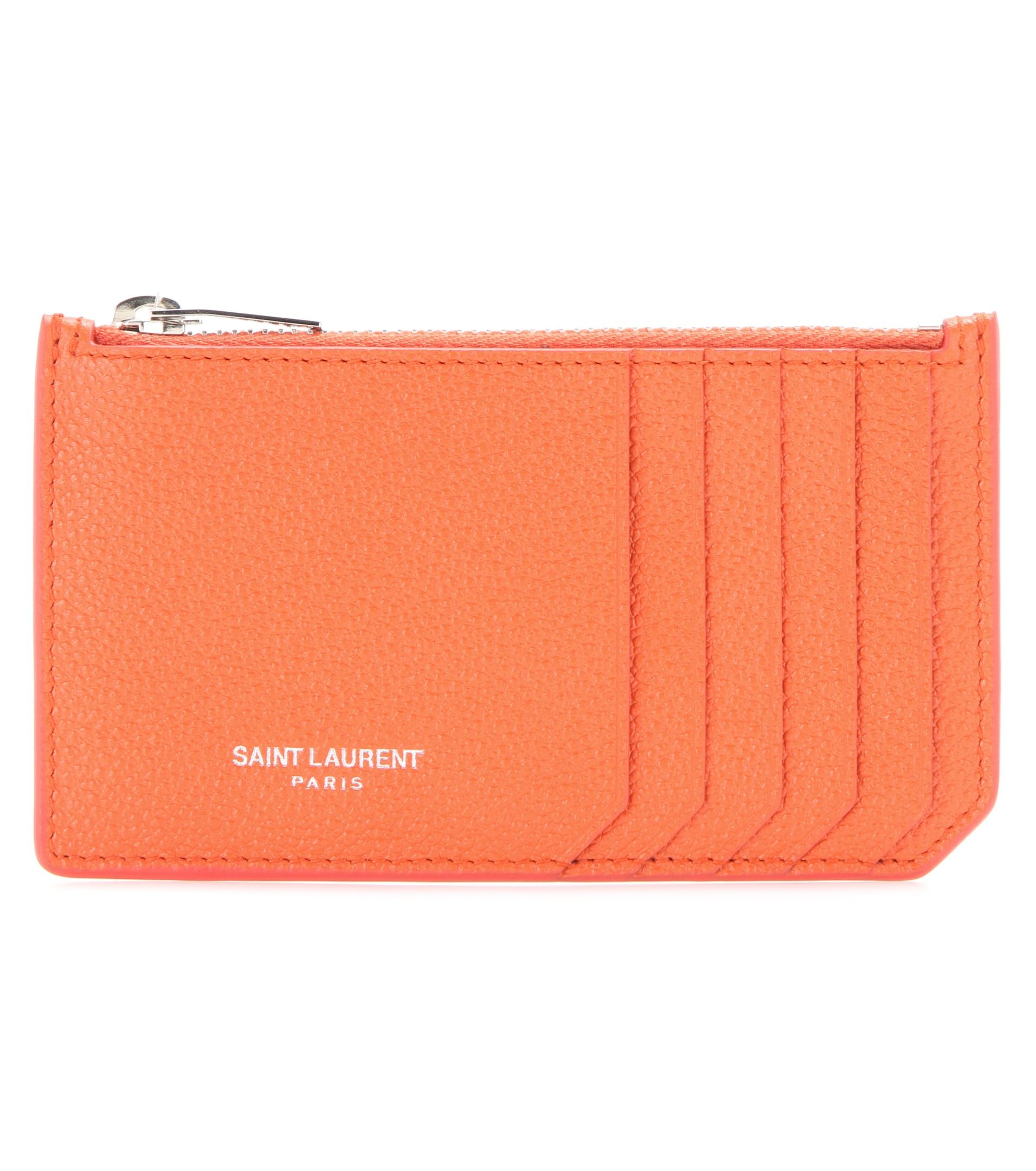 Saint laurent classic paris leather card holder in orange for Paris orange card