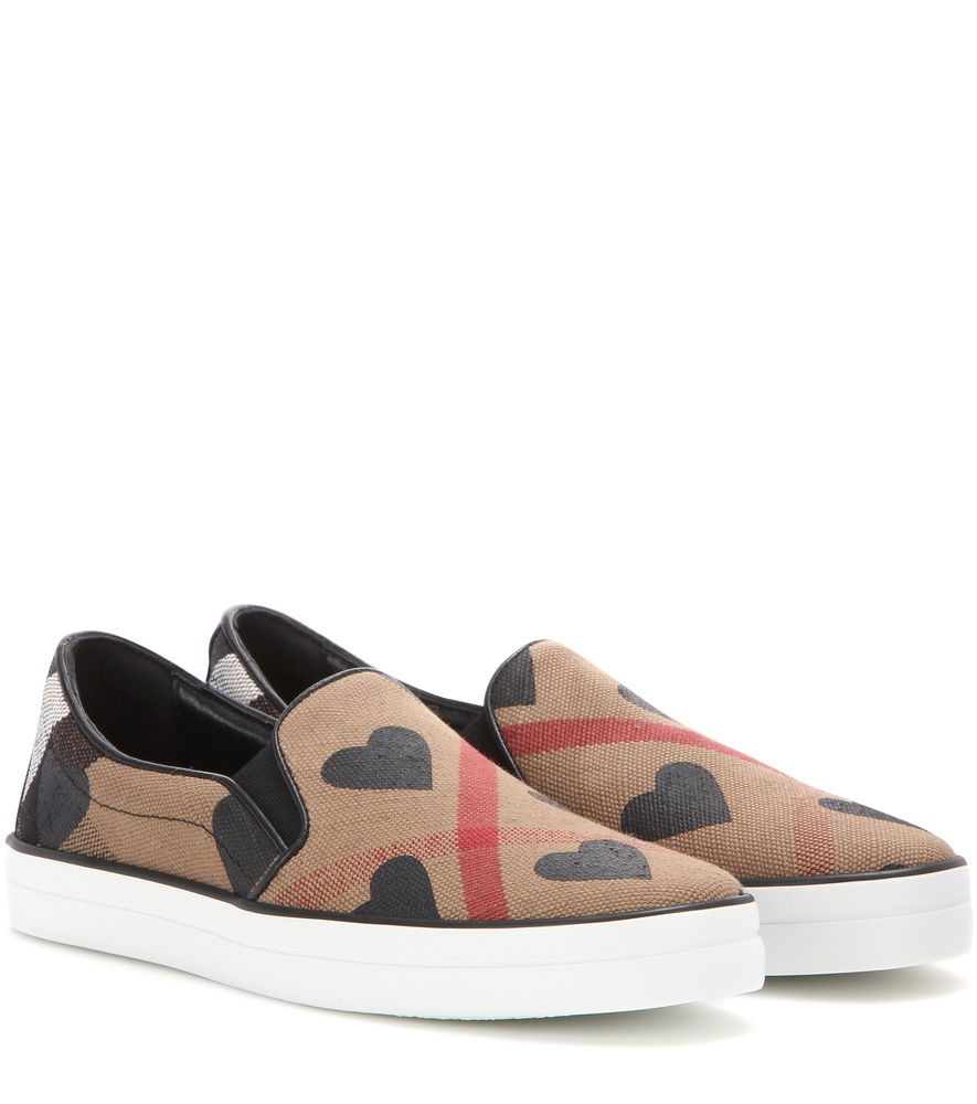 burberry brit check slip on sneakers in beige lyst