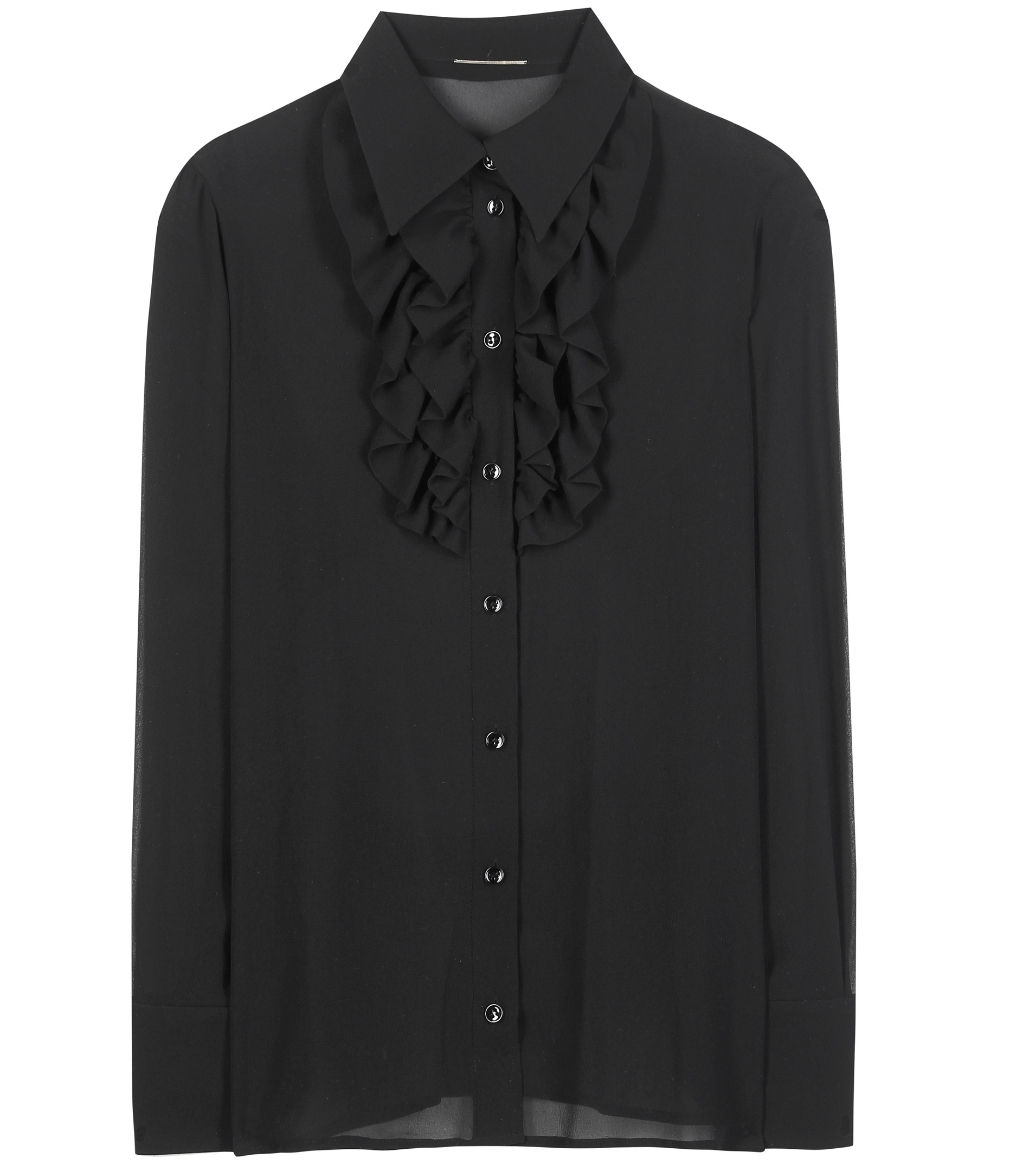saint laurent silk shirt in black lyst