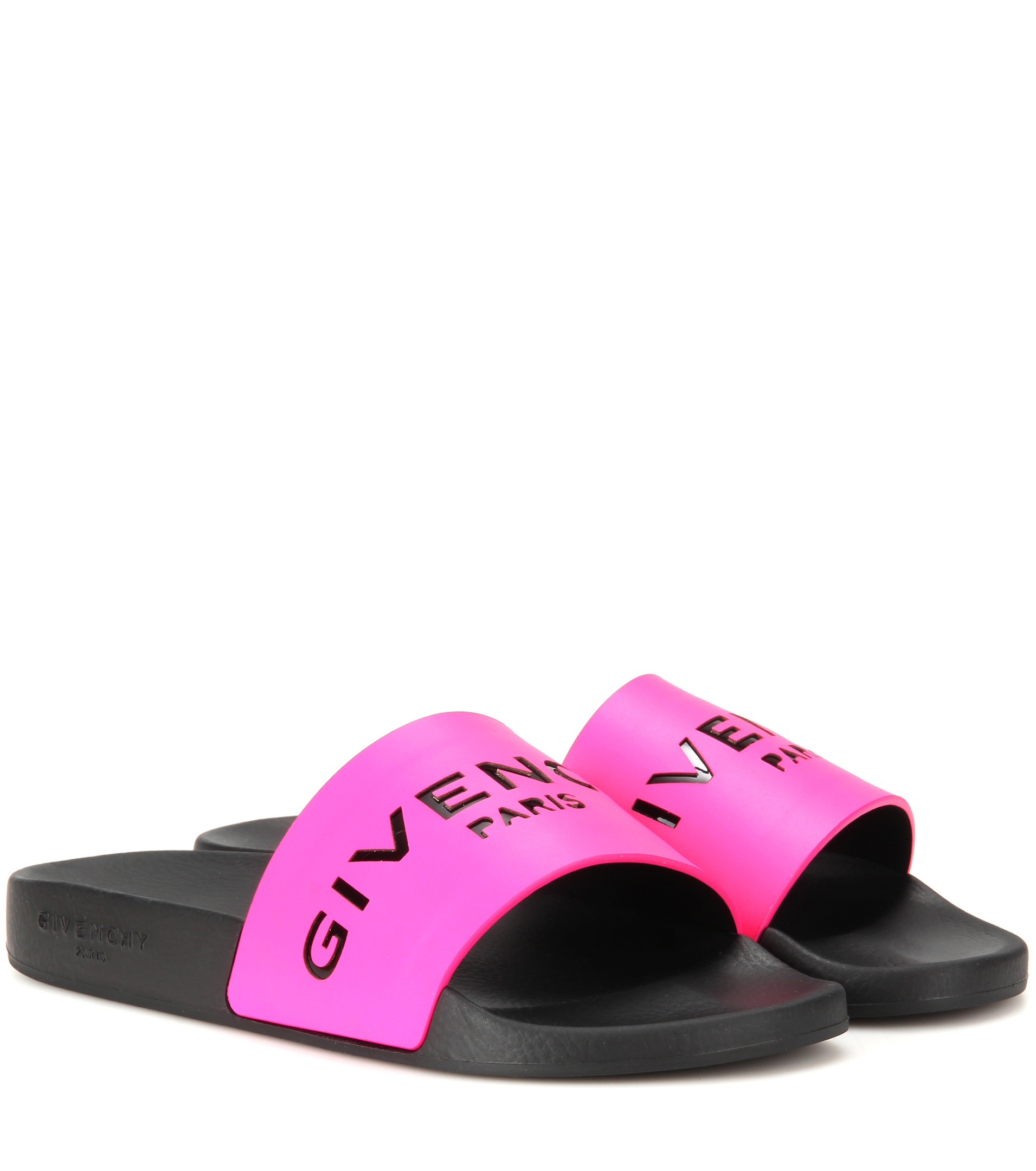 Givenchy Slide Leather And Rubber Sandals In Pink Lyst