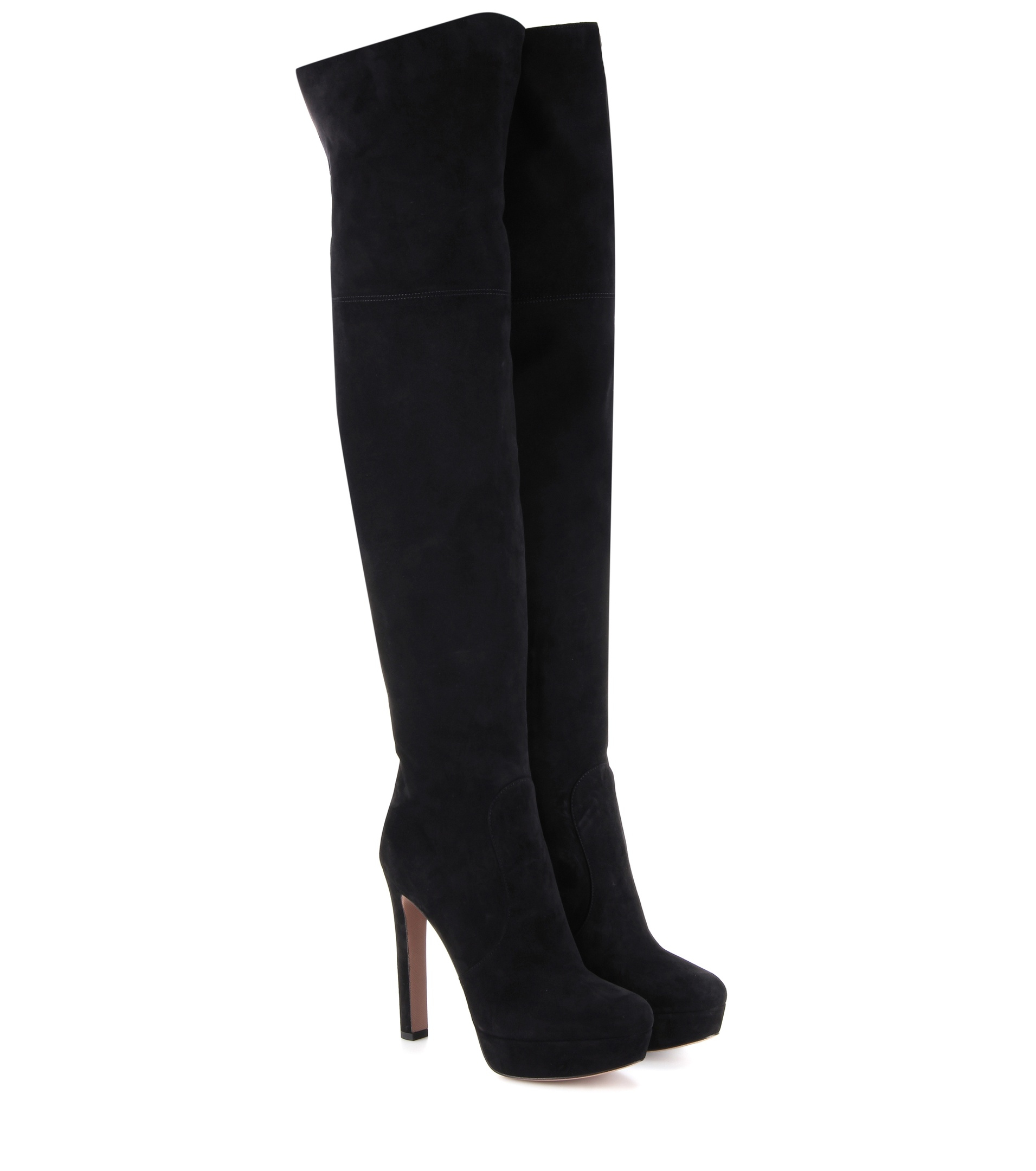 prada the knee suede platform boots in black lyst
