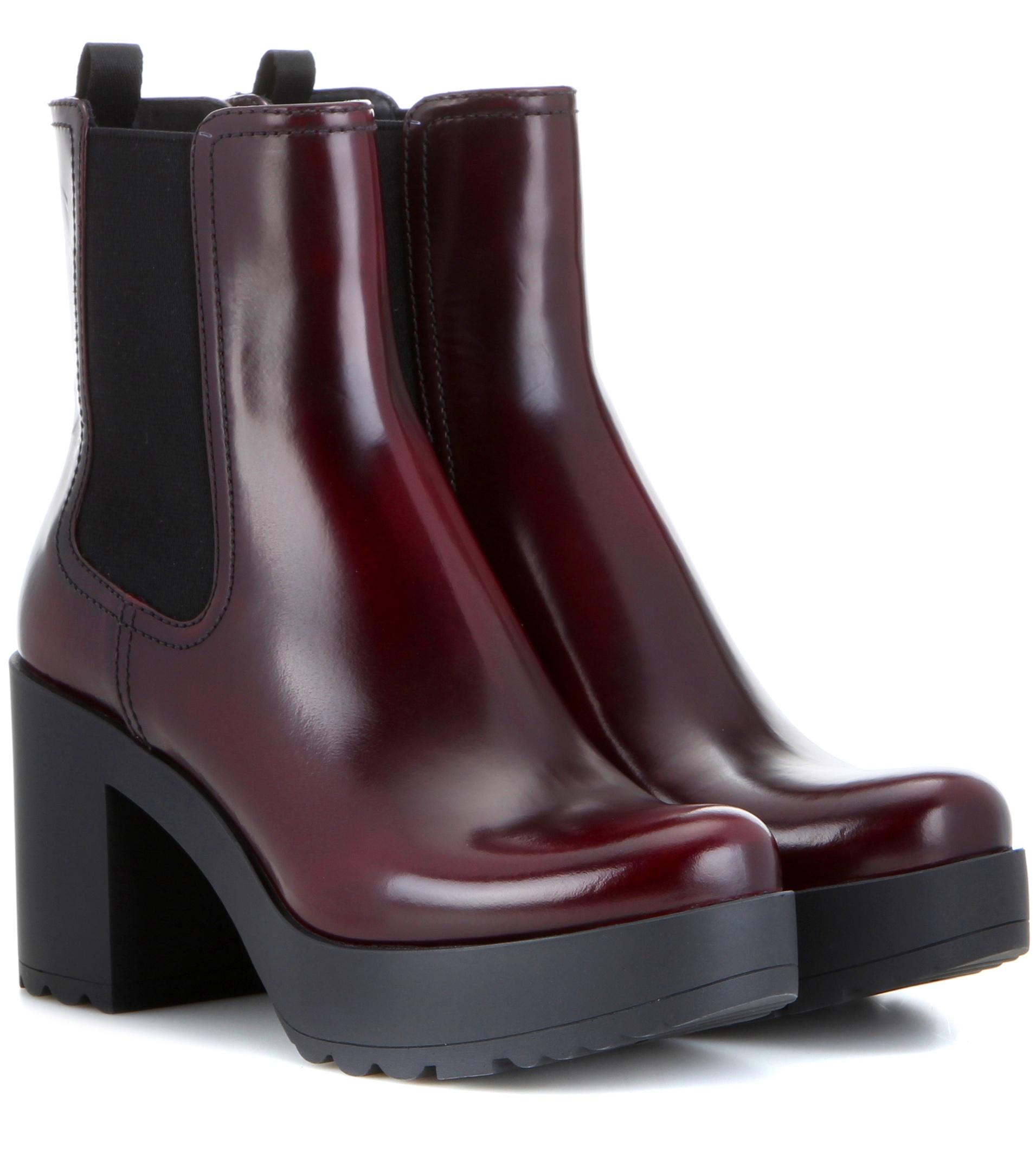 prada platform patent chelsea boots in red lyst. Black Bedroom Furniture Sets. Home Design Ideas