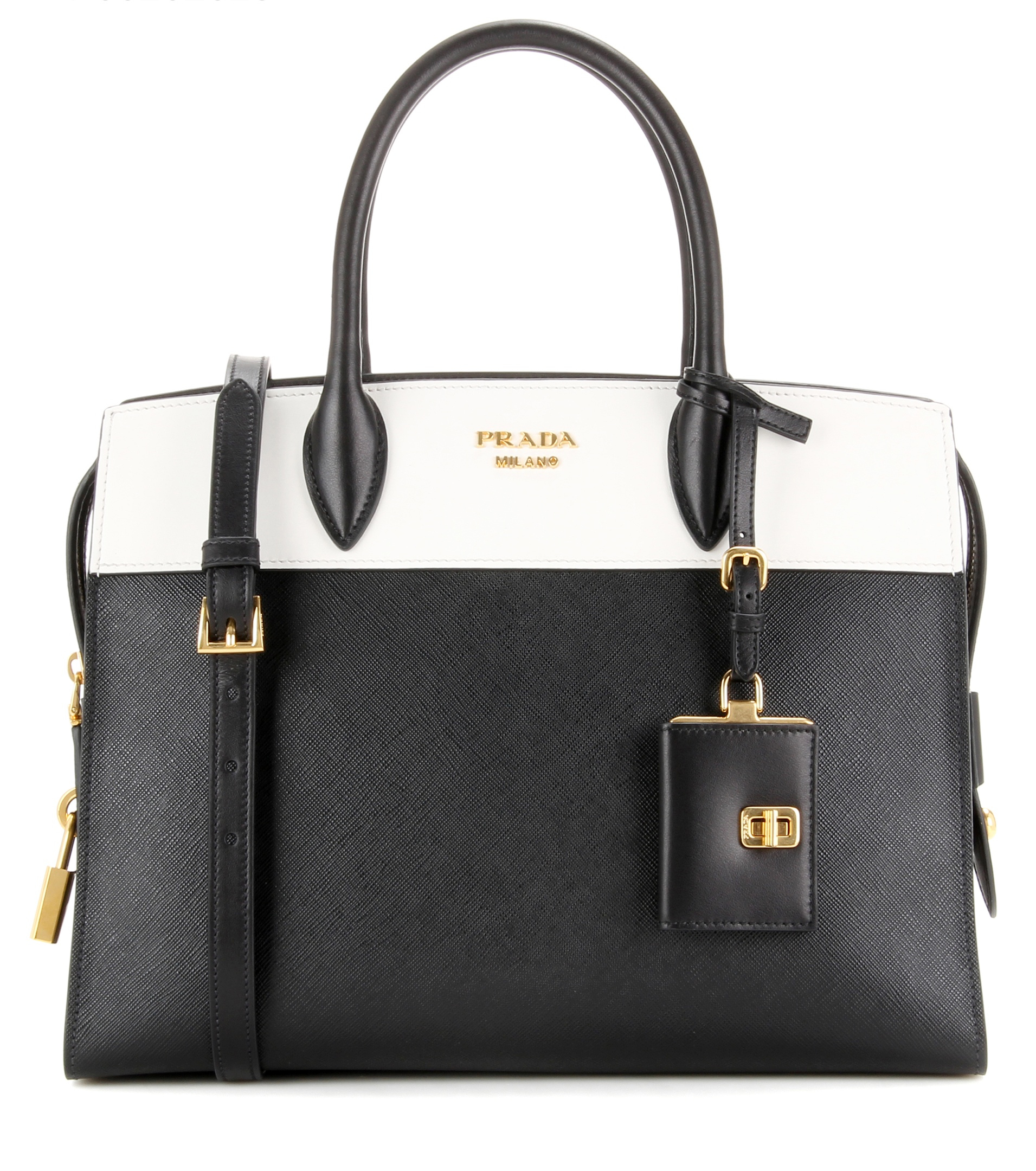 f88b6b93bd9ade Prada Esplanade Leather Bag Black And Brown | Stanford Center for ...