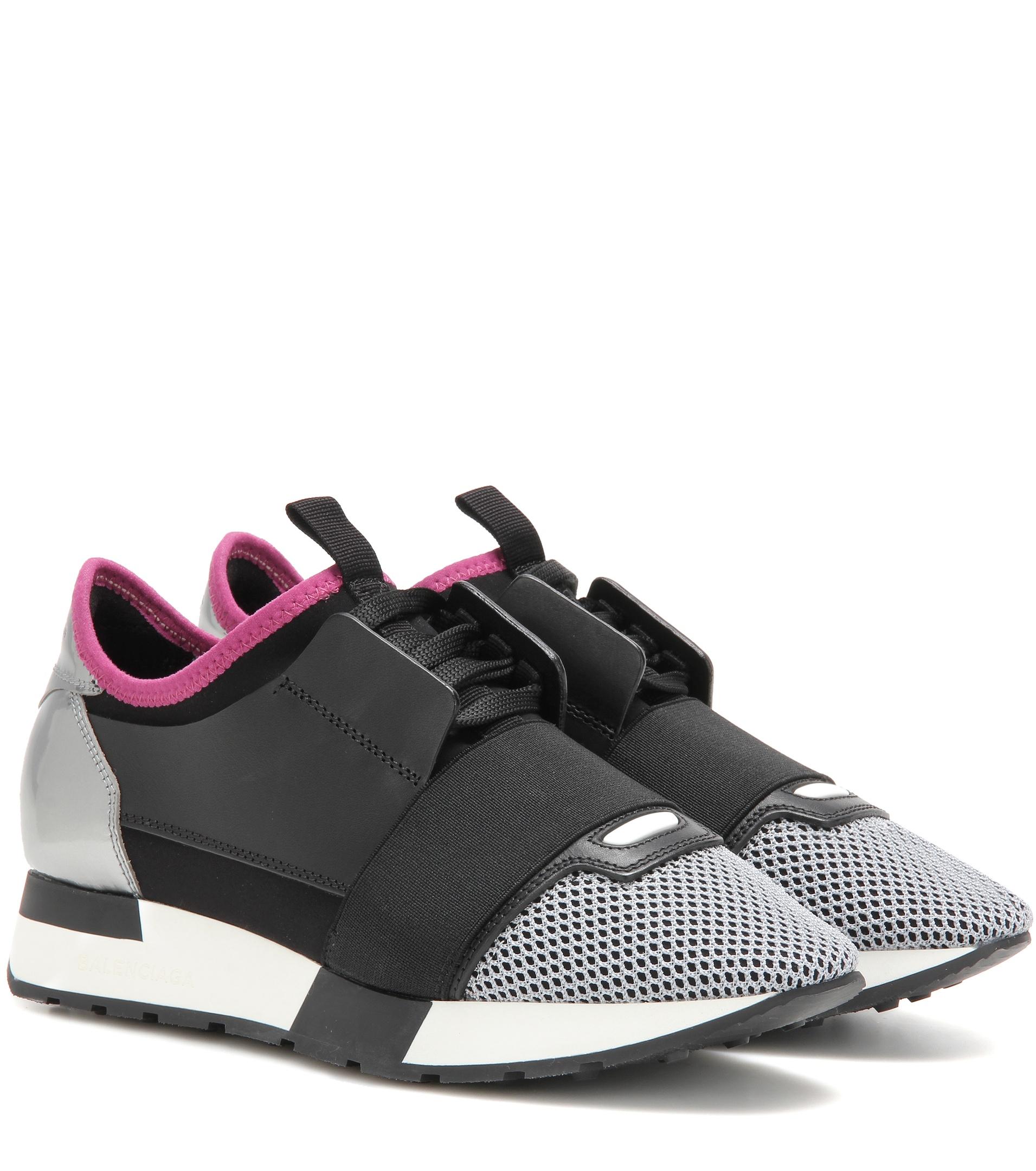 Balenciaga Race Runner Leather Mesh And Neoprene Sneakers