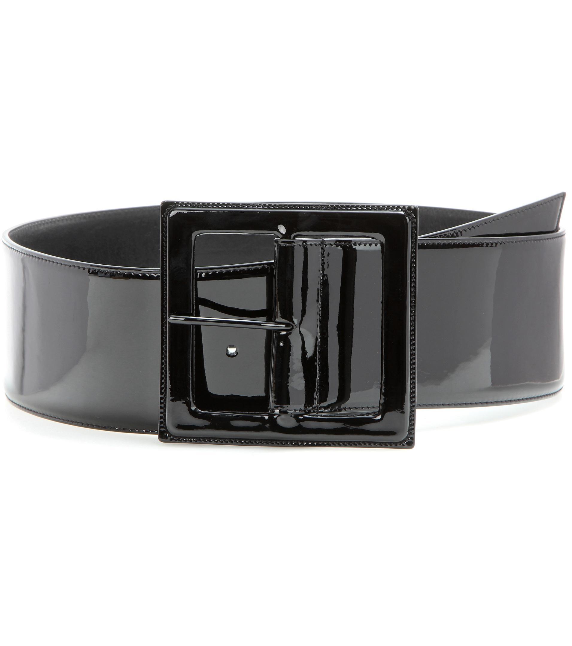 laurent patent leather belt in black lyst