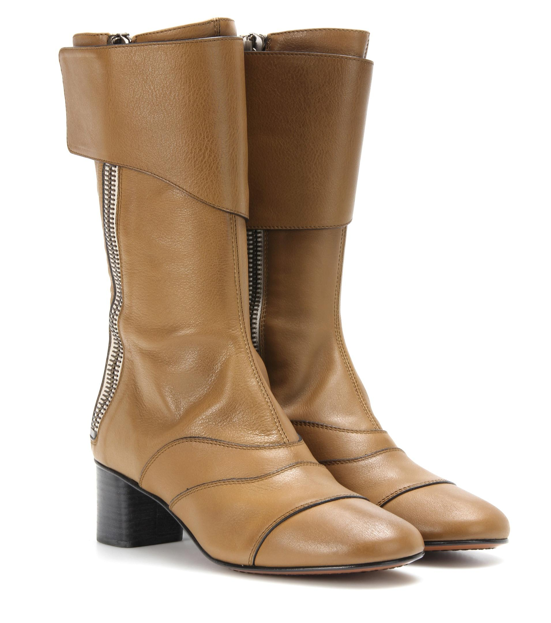 lyst chlo lexie leather mid calf boots in brown. Black Bedroom Furniture Sets. Home Design Ideas