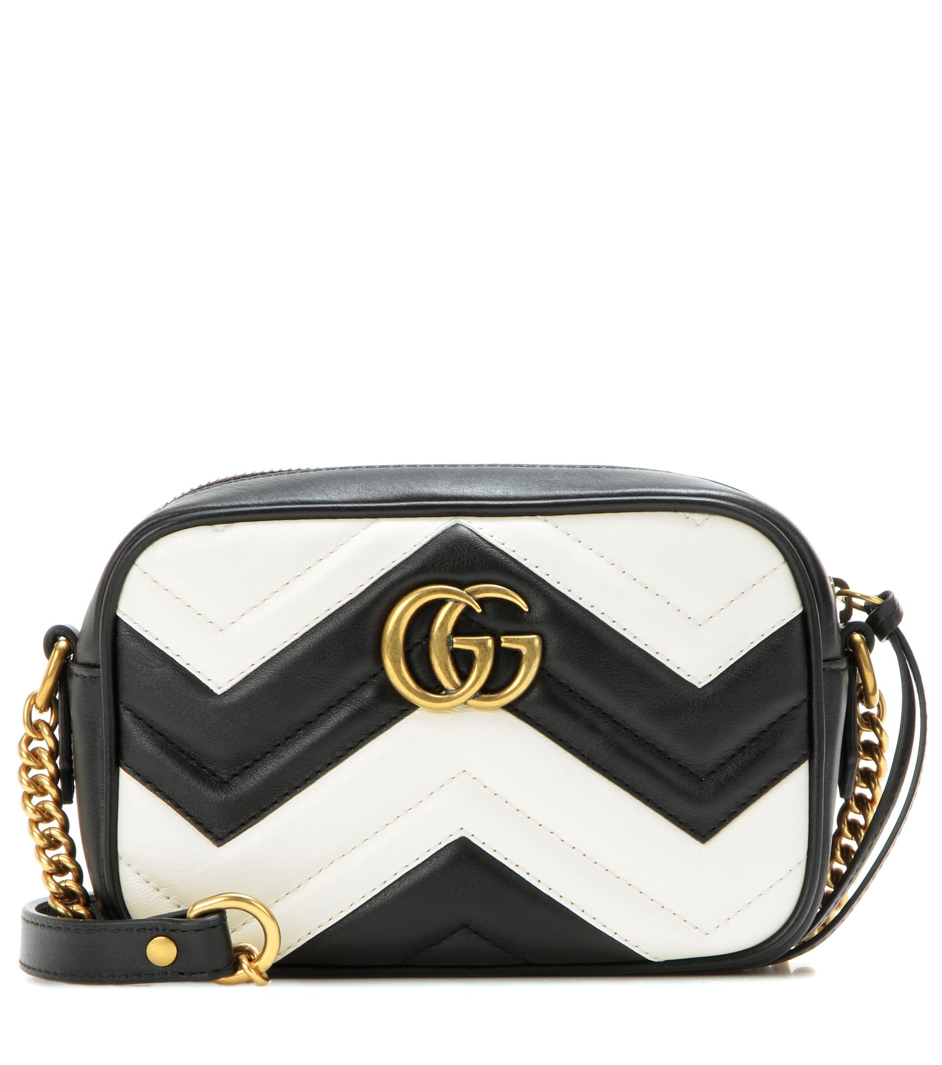 52feae20f44 Gucci Marmont Gg Mini Quilted Black Leather Cross Body Bag 488426 Black
