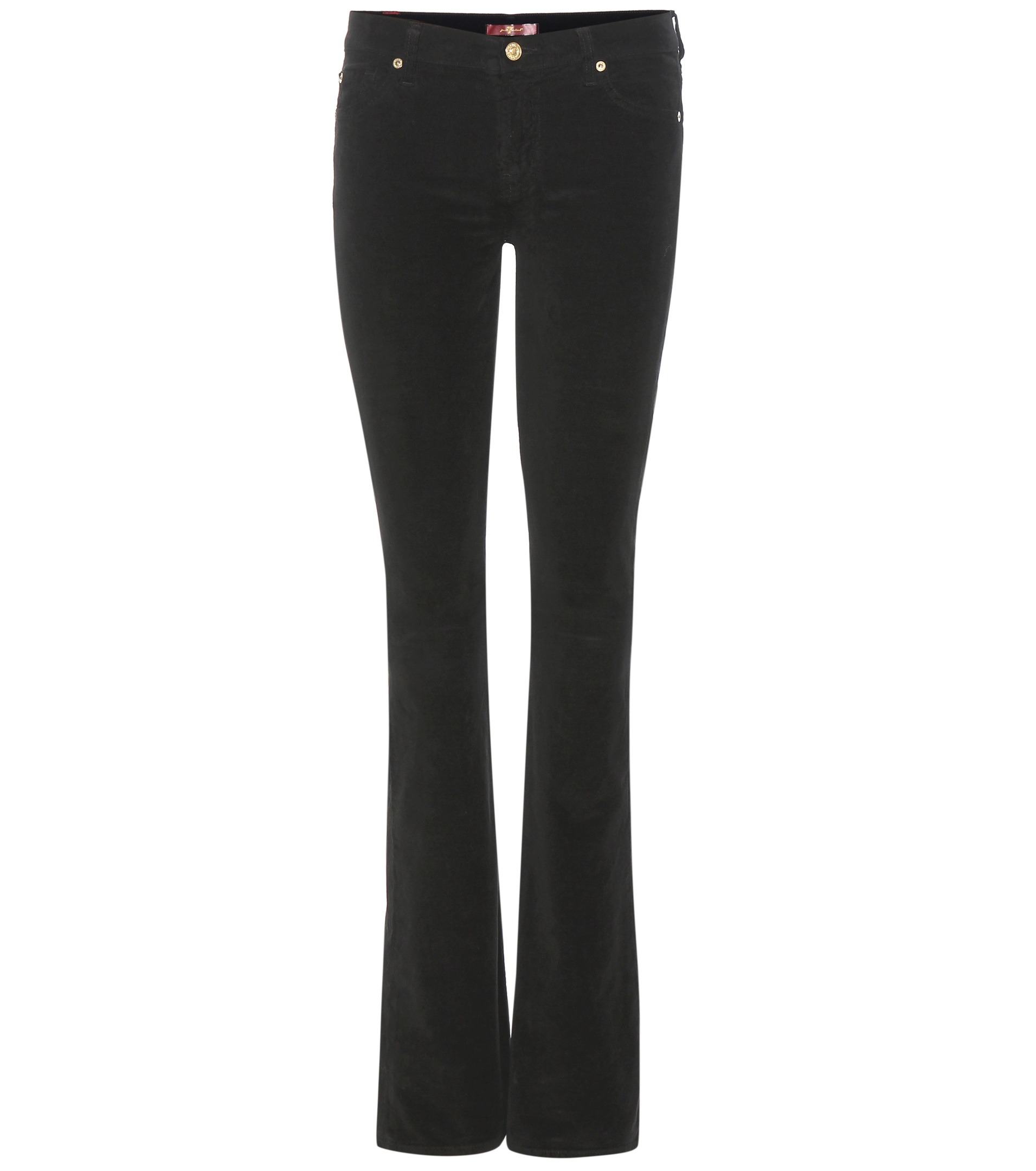 Bootcut black velvet trousers by 7 for all mankind color black
