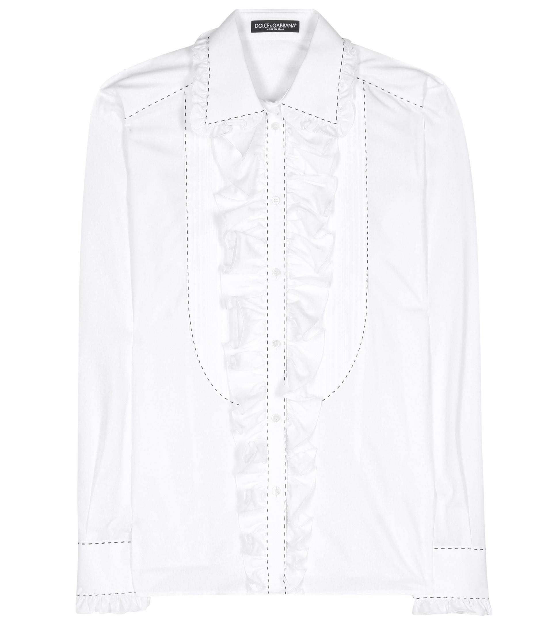 Dolce Gabbana Ruffled Cotton Shirt In White For Men Lyst
