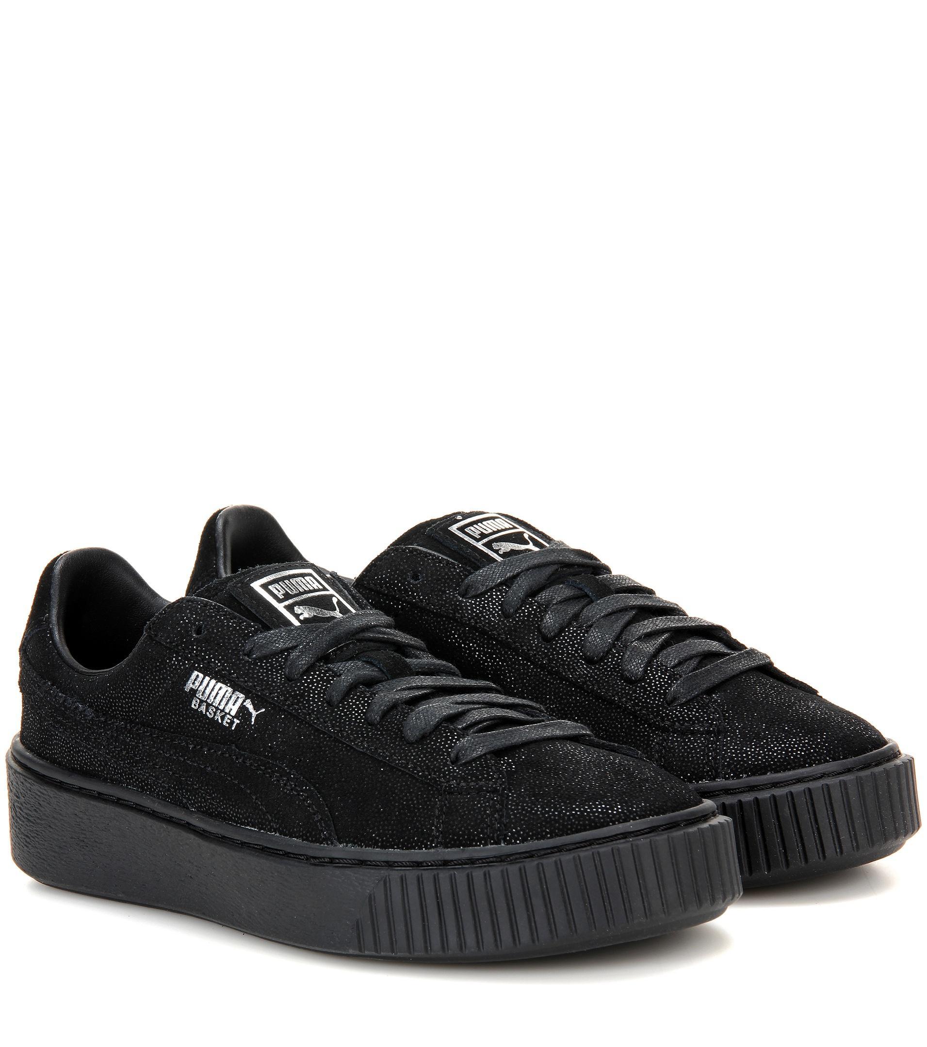 puma basket platform reset suede sneakers in black lyst. Black Bedroom Furniture Sets. Home Design Ideas