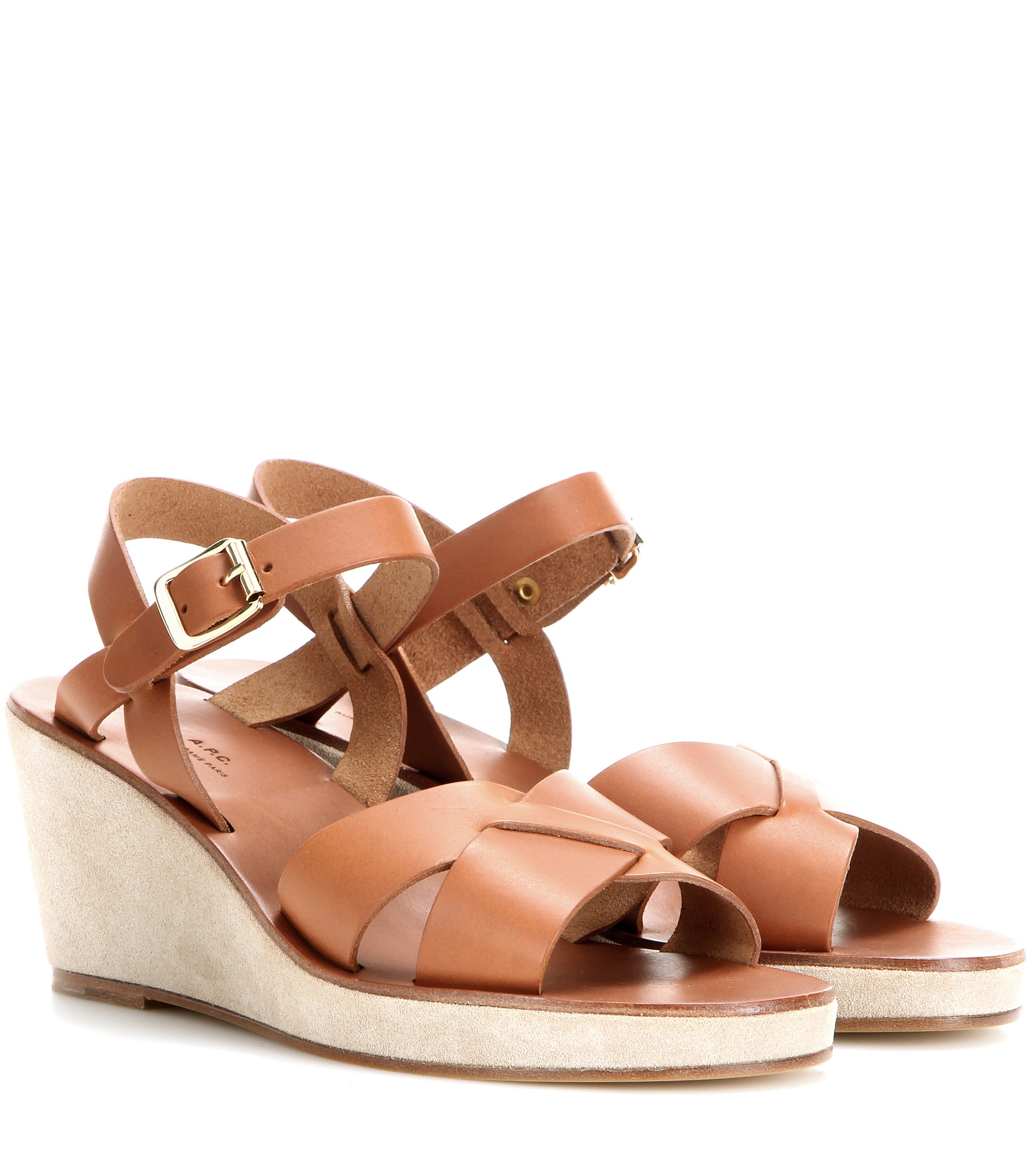 A P C Leather And Suede Wedge Sandals In Brown Lyst