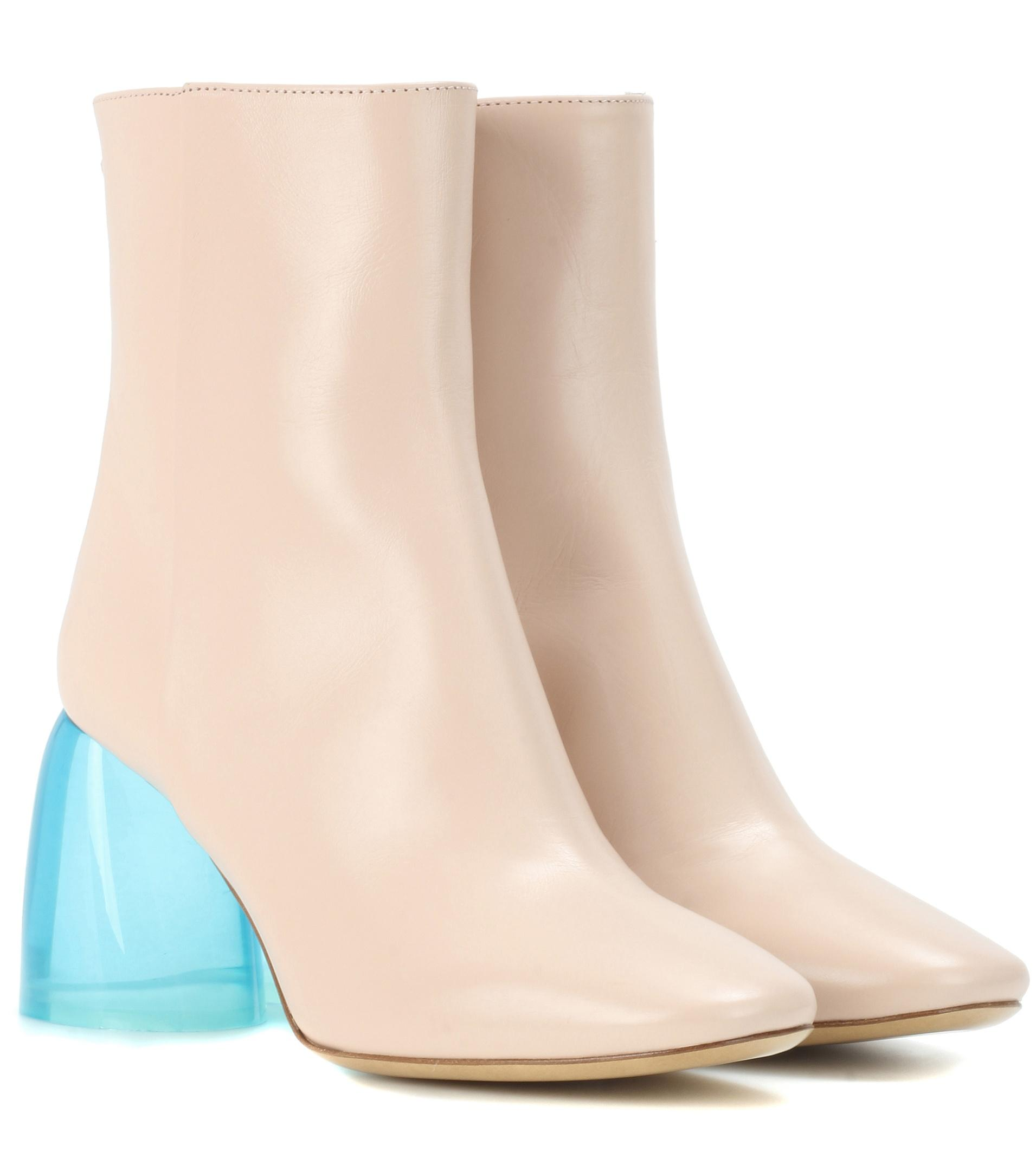 ellery sacred leather ankle boots in pink lyst