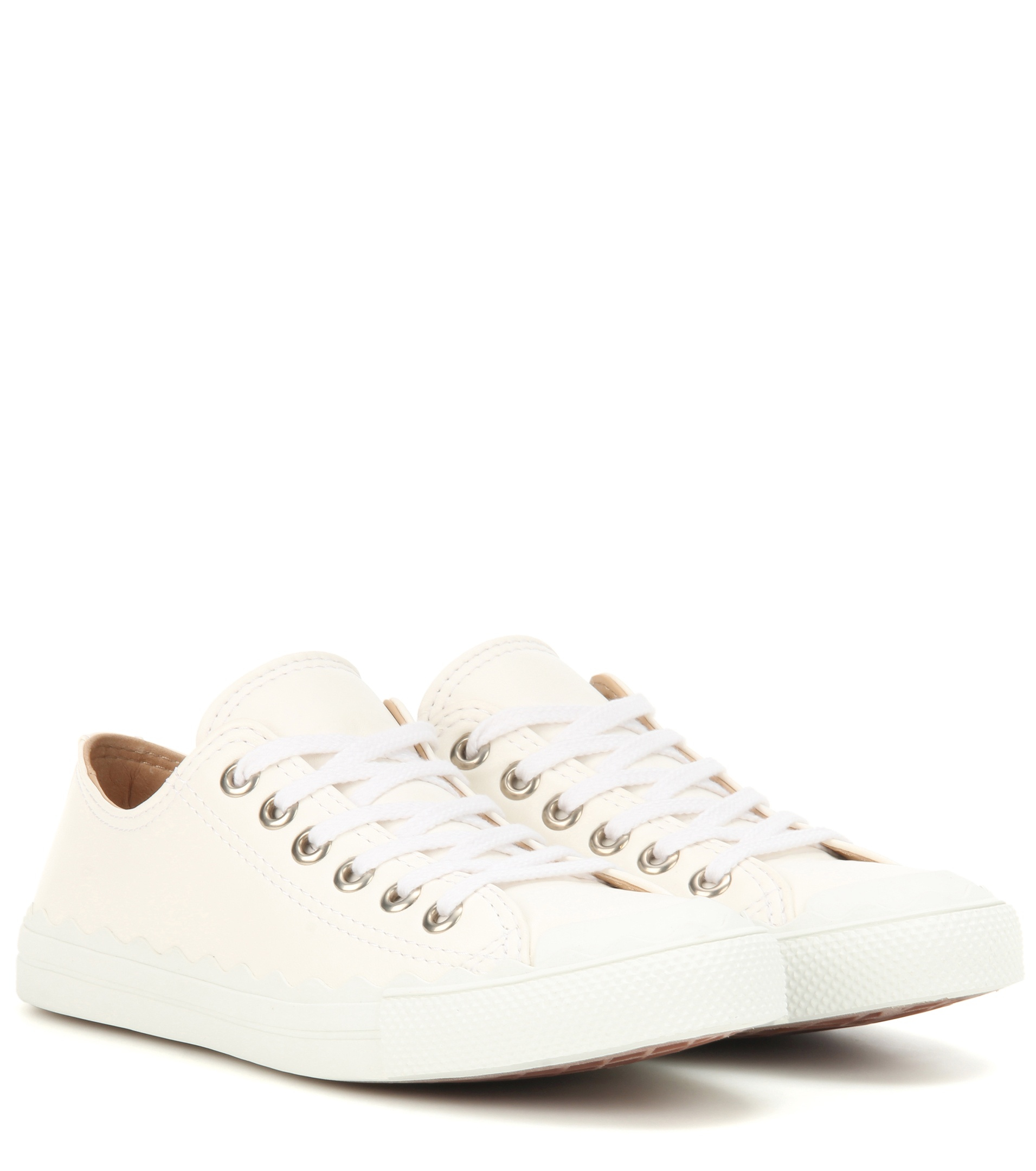 chlo lauren leather sneakers in white lyst. Black Bedroom Furniture Sets. Home Design Ideas