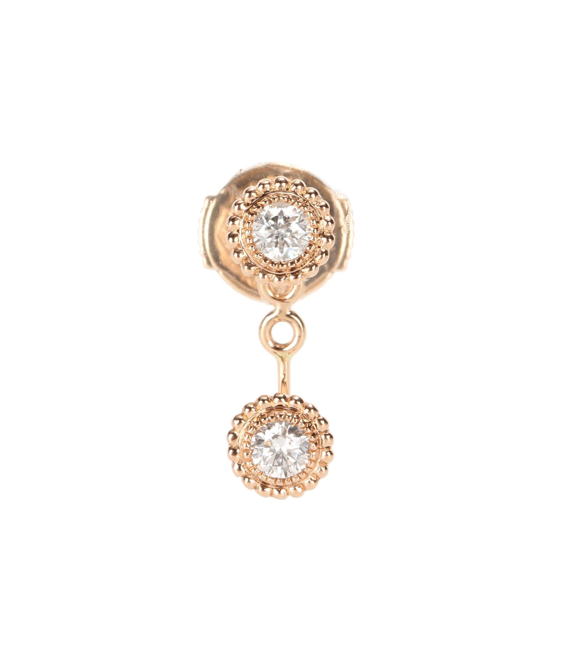 Stone Paris Swan Double Button 18kt rose gold earring with diamonds rpTC0iR7