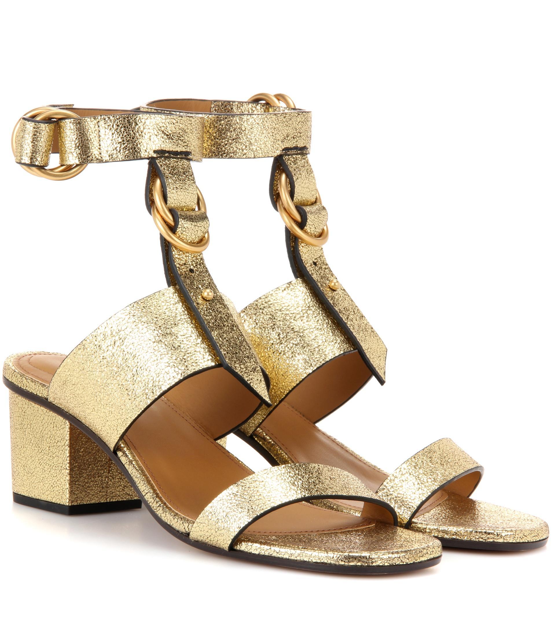 59b9bf35390 Lyst - Chloé Kingsley High Sandals in Metallic