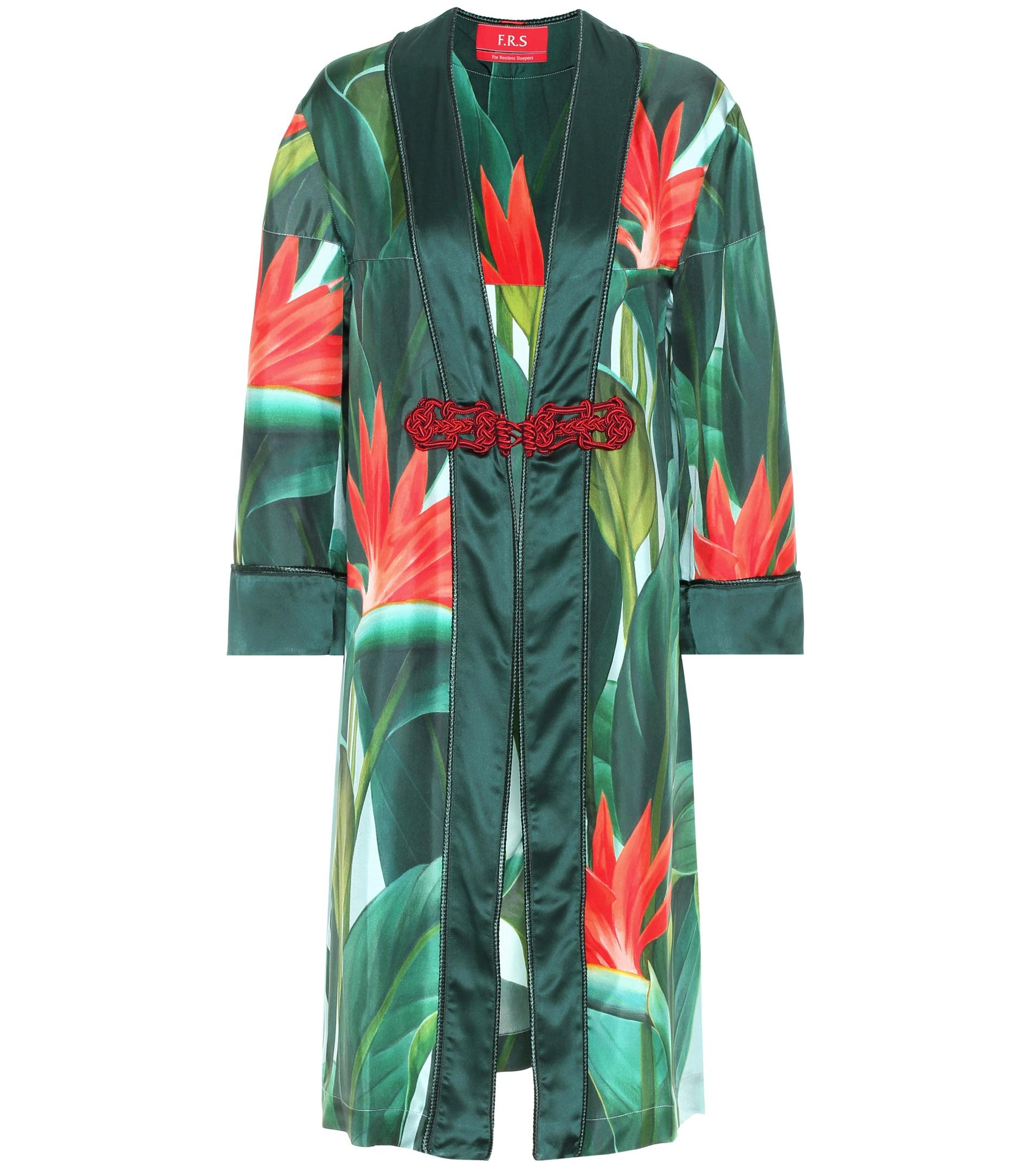 For Restless Sleepers Silk Dressing Gown In Green Lyst