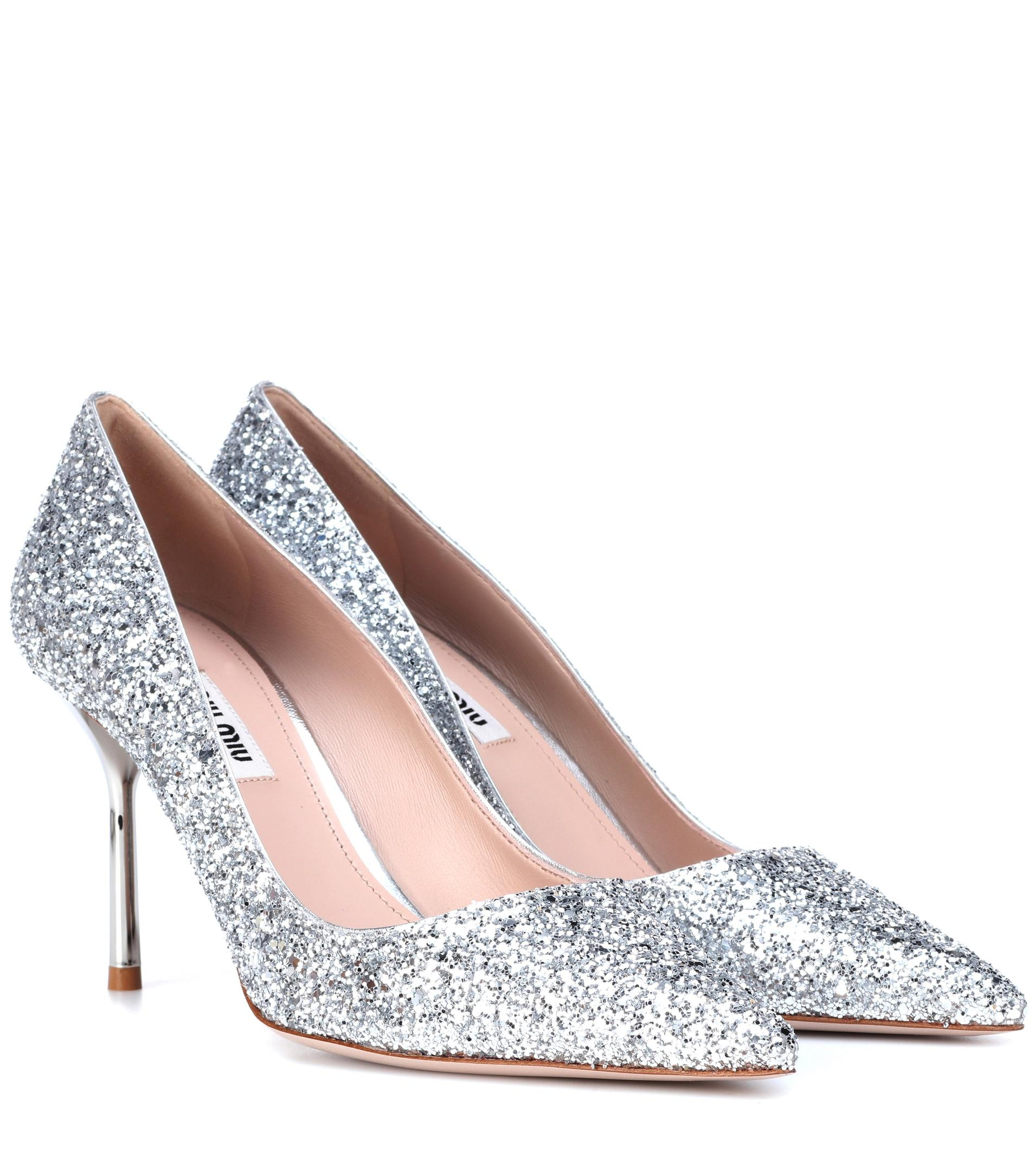 82b336094f8 Lyst - Miu Miu Glitter Pumps in Metallic