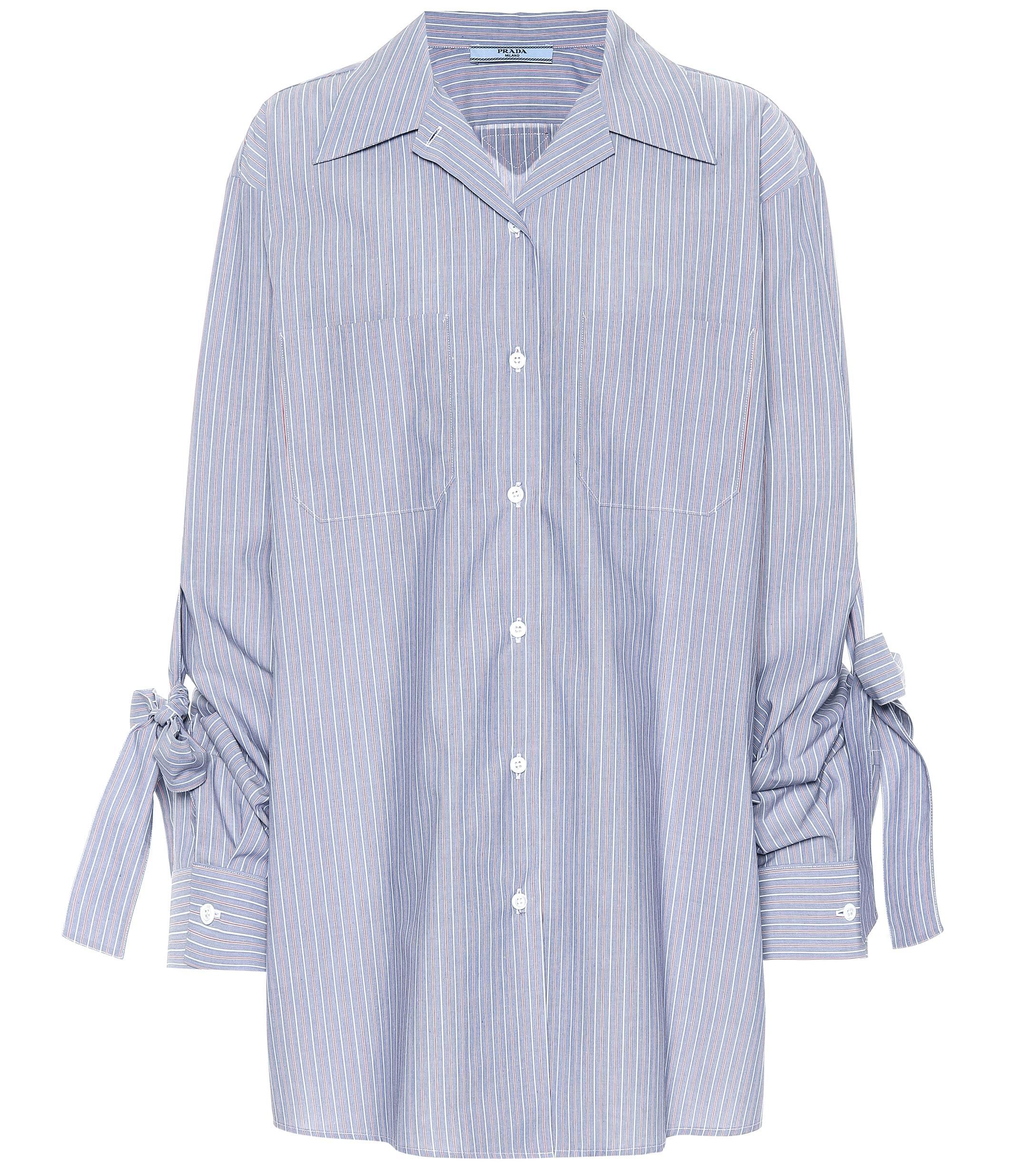 b7ef0e79c971c Lyst - Prada Striped Cotton Shirt in Blue