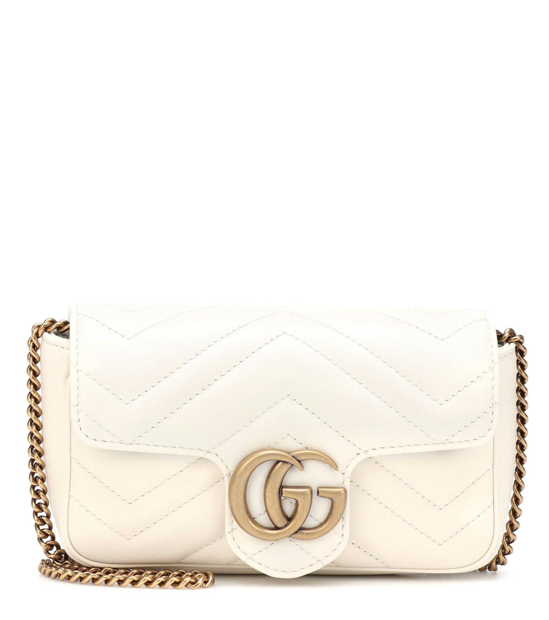 faf37bf1ec7 Gucci - White GG Marmont Super Mini Shoulder Bag - Lyst. View fullscreen