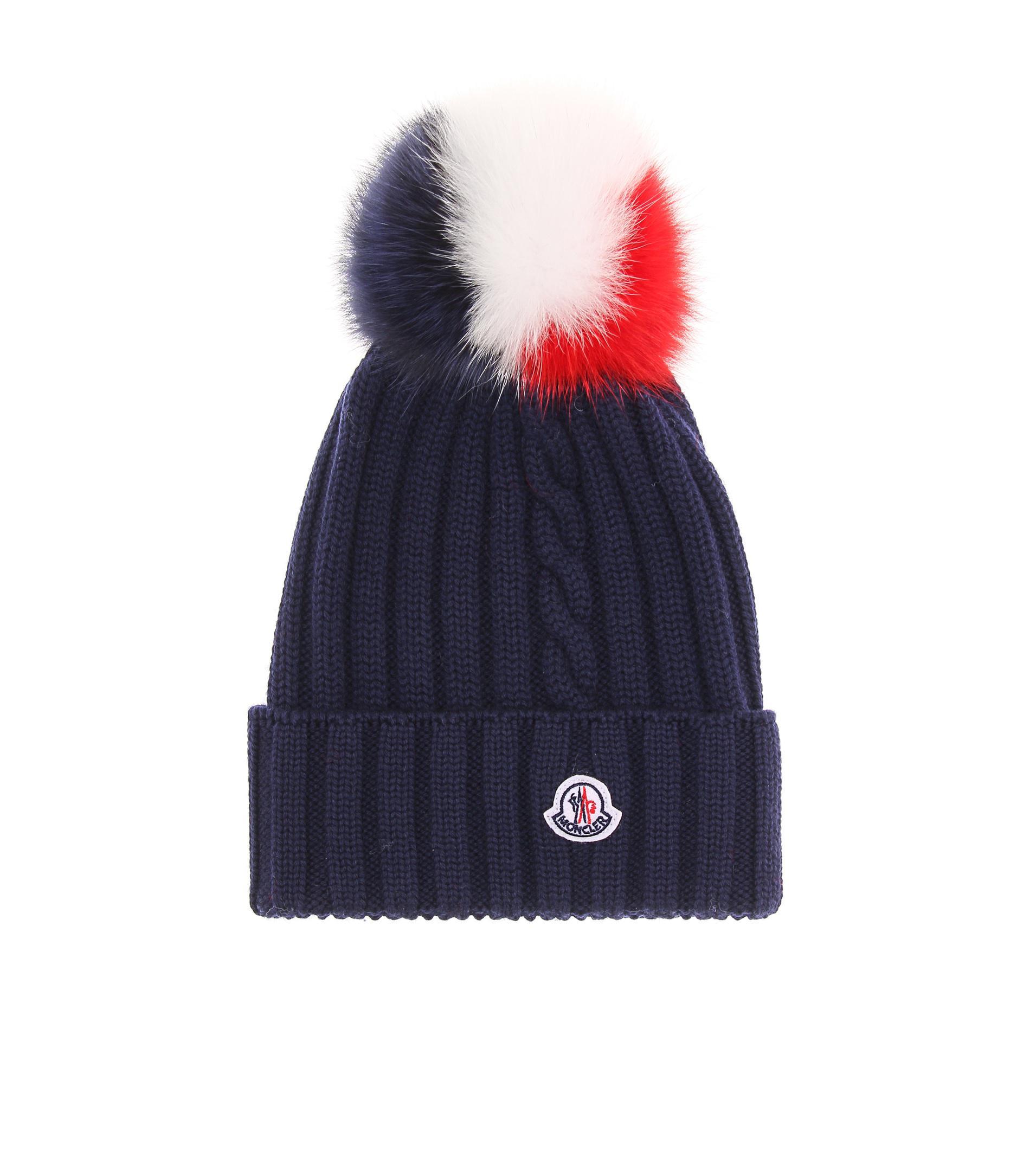 Lyst - Gorro de lana con adorno de pelo Moncler de color Negro 92b769b9f0b