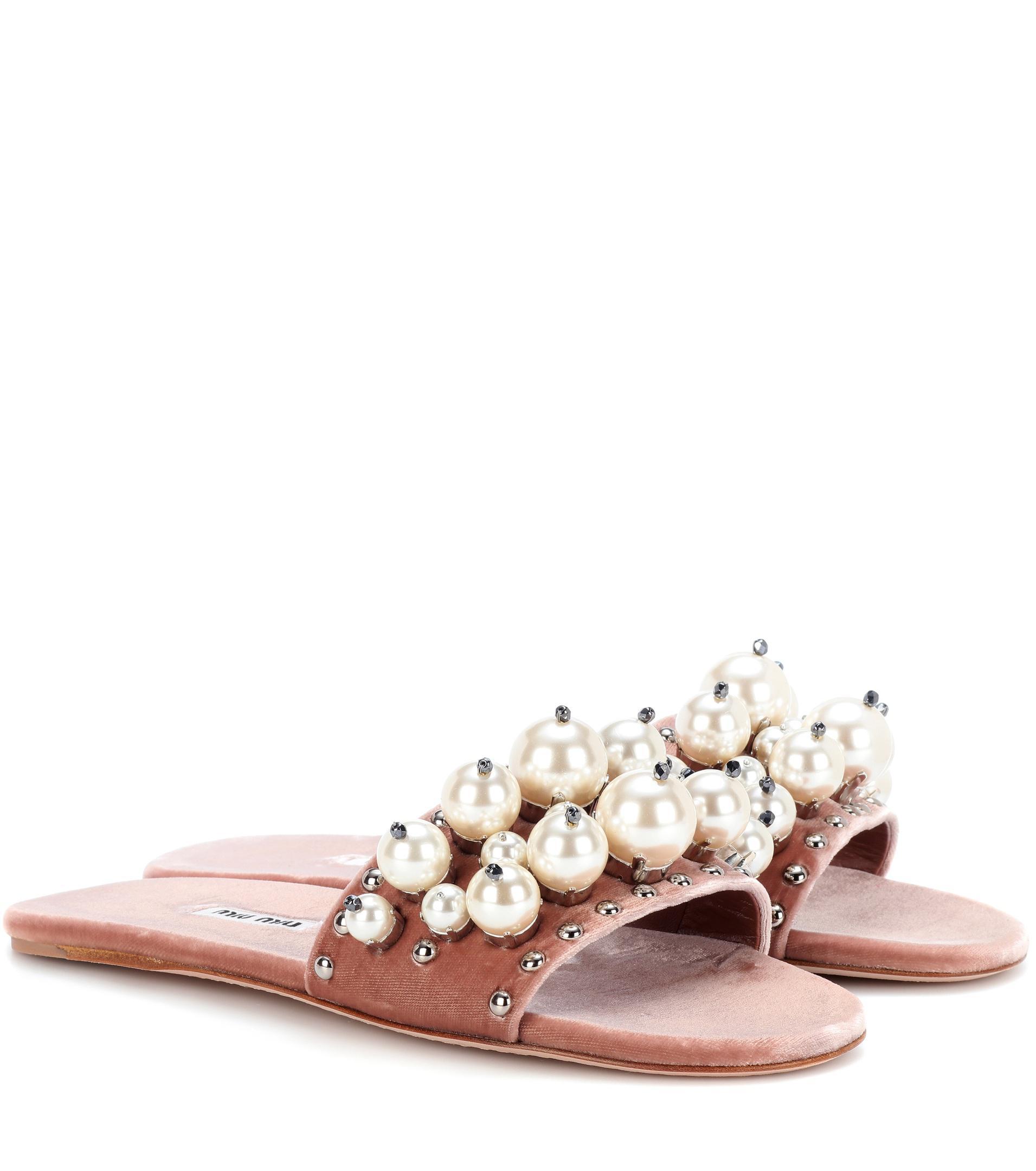 90b9024cbb17 Miu Miu Embellished Velvet Slides in Pink - Lyst