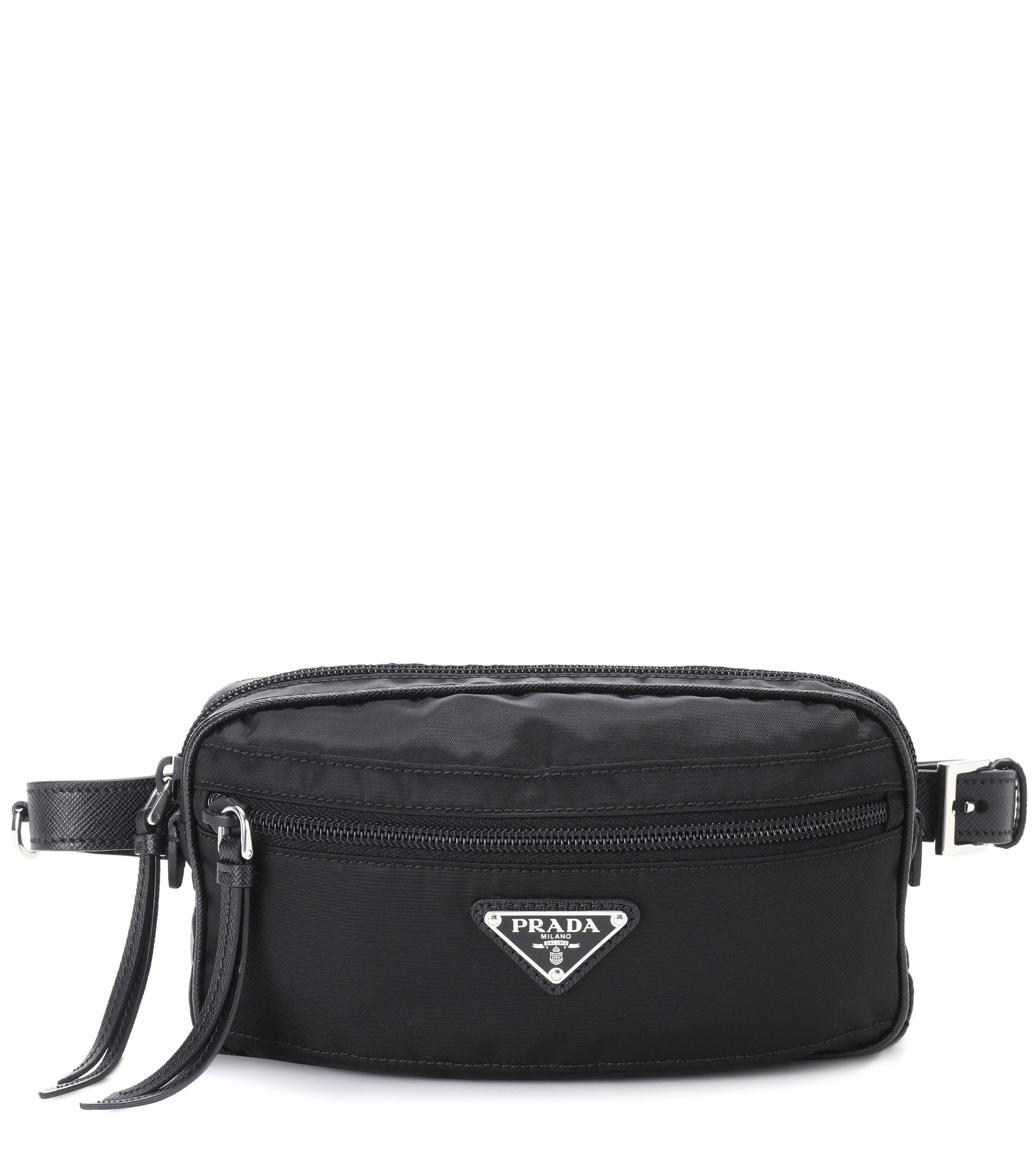 Lyst - Prada Leather-trimmed Belt Bag in Black - Save 10% 2233e6cd1ce62