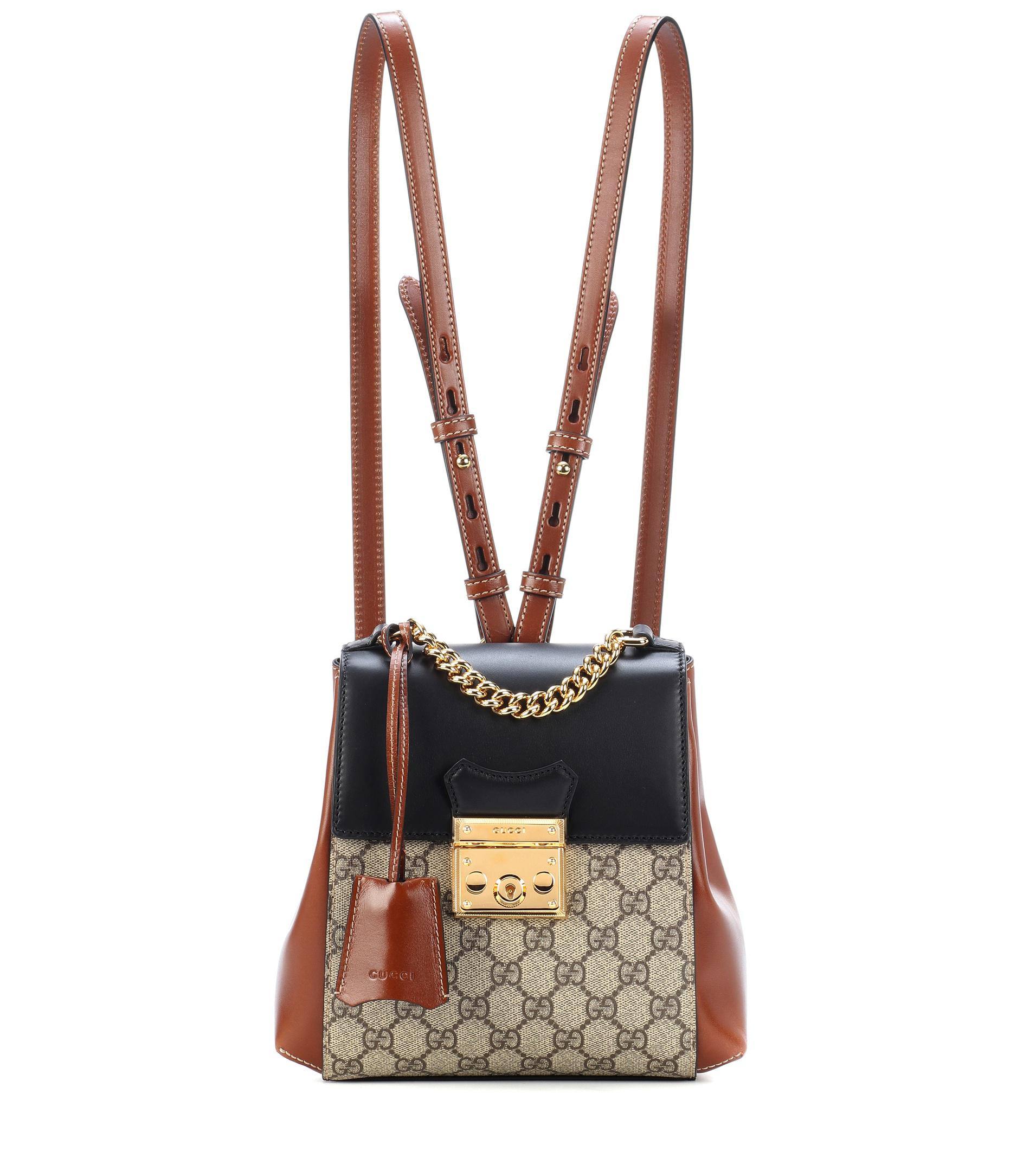 Lyst - Gucci Brown And Black Padlock GG Supreme Backpack in Brown 3143dda0d2ce6