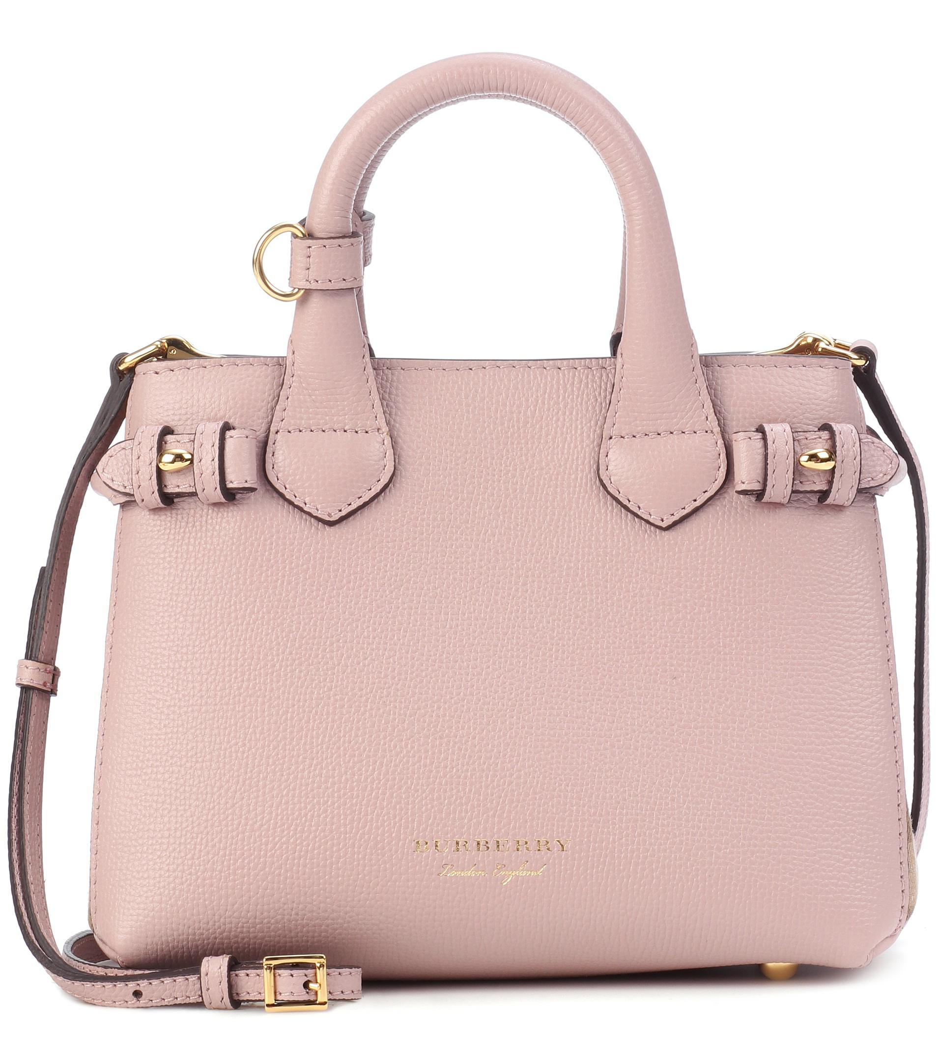 Lyst - Burberry The Baby Banner Leather Shoulder Bag in Pink 93bbe6fef5318