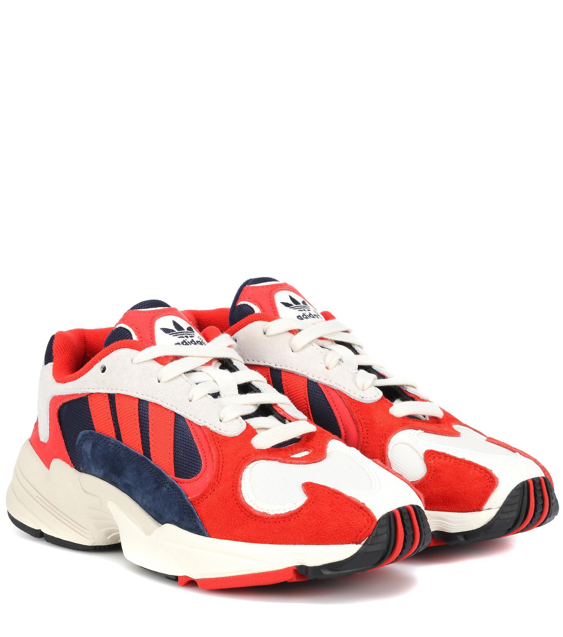 373430b92ba Lyst - adidas Originals Yung 1 Nubuck Sneakers in Red
