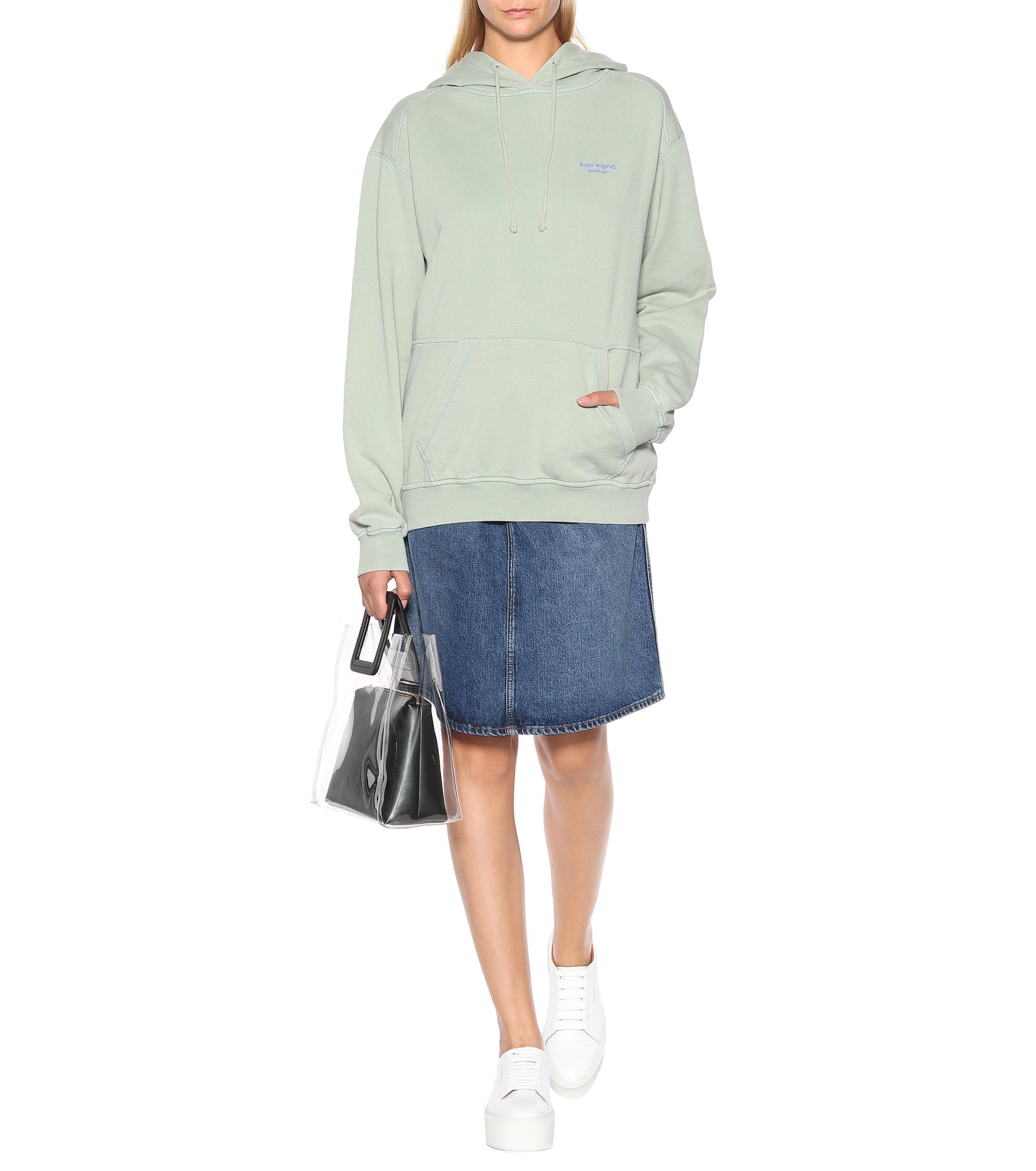 Sweat-shirt à capuche en coton Coton Acne Studios en coloris Vert