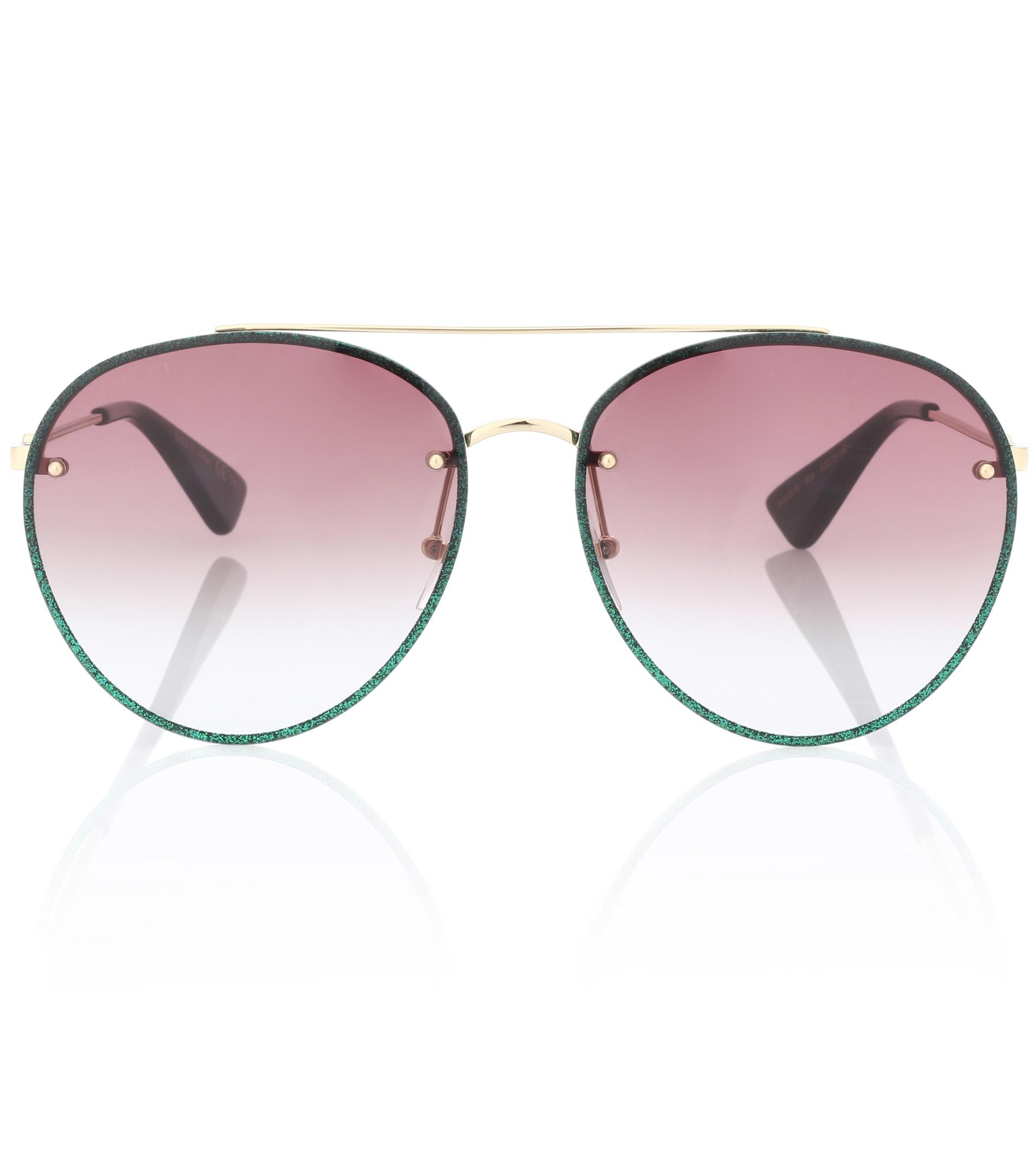 30348b1fbbb Gucci Glitter Aviator Sunglasses in Green - Lyst