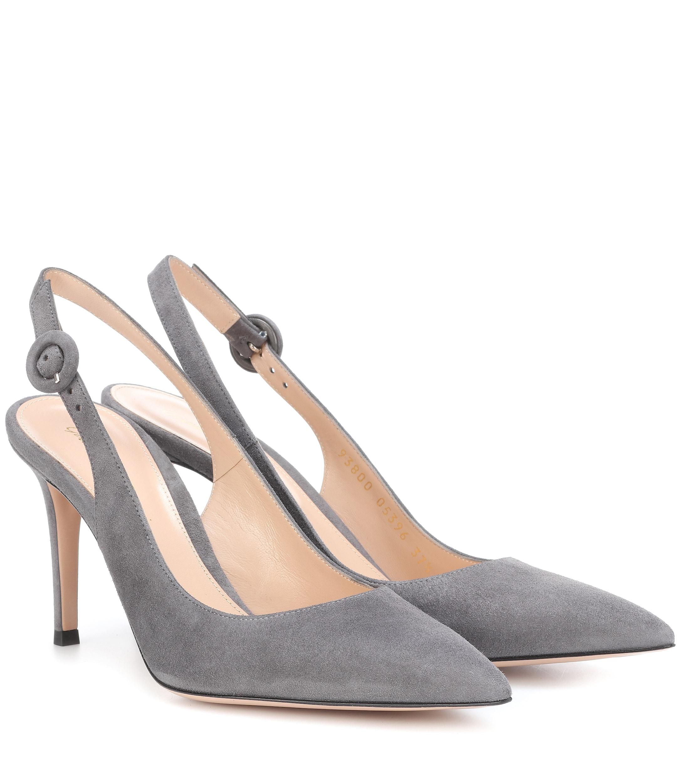 ee19363ee8 Gianvito Rossi Anna 85 Suede Slingback Pumps - Lyst