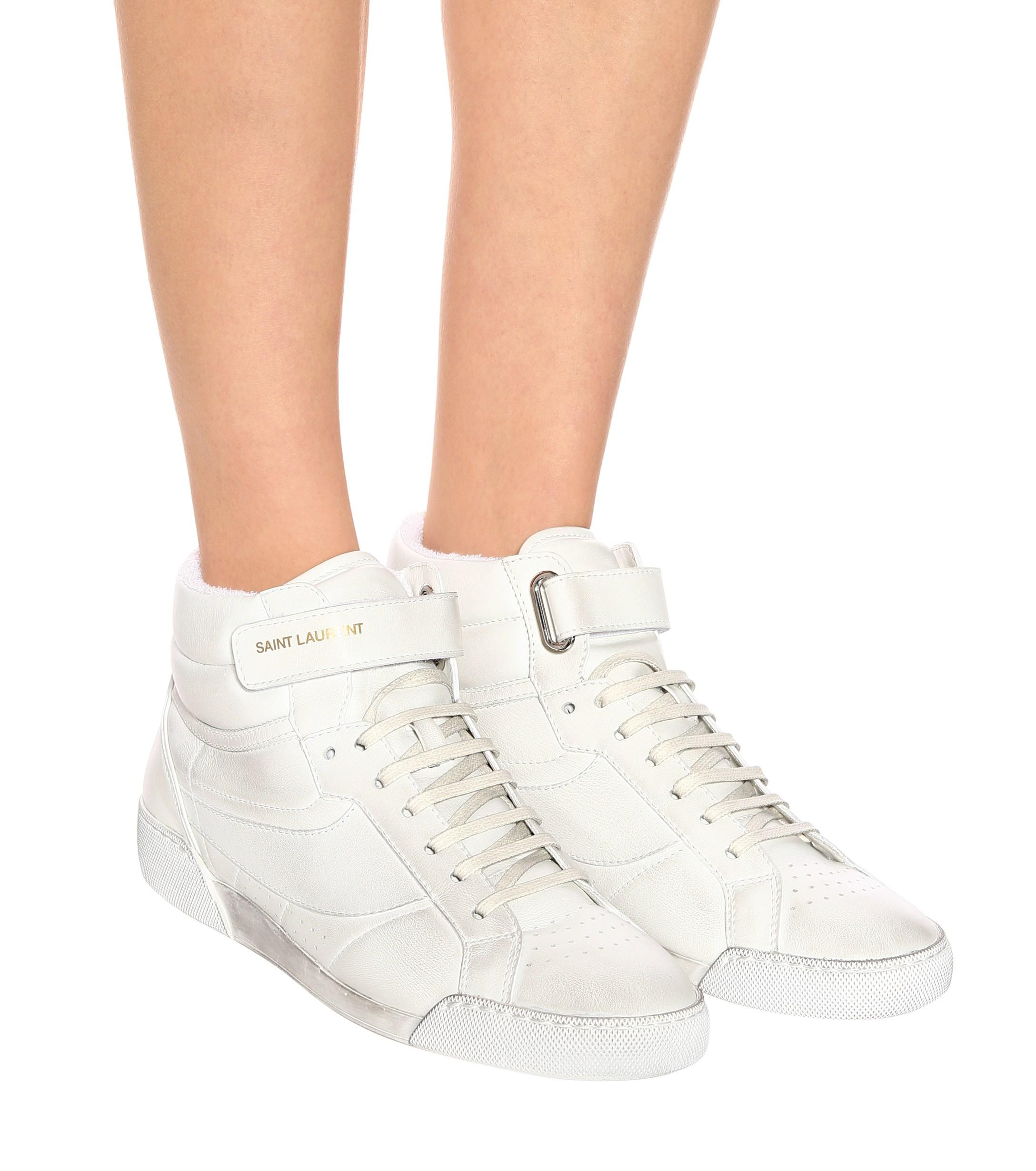 Saint Laurent Lenny Leather Sneakers in