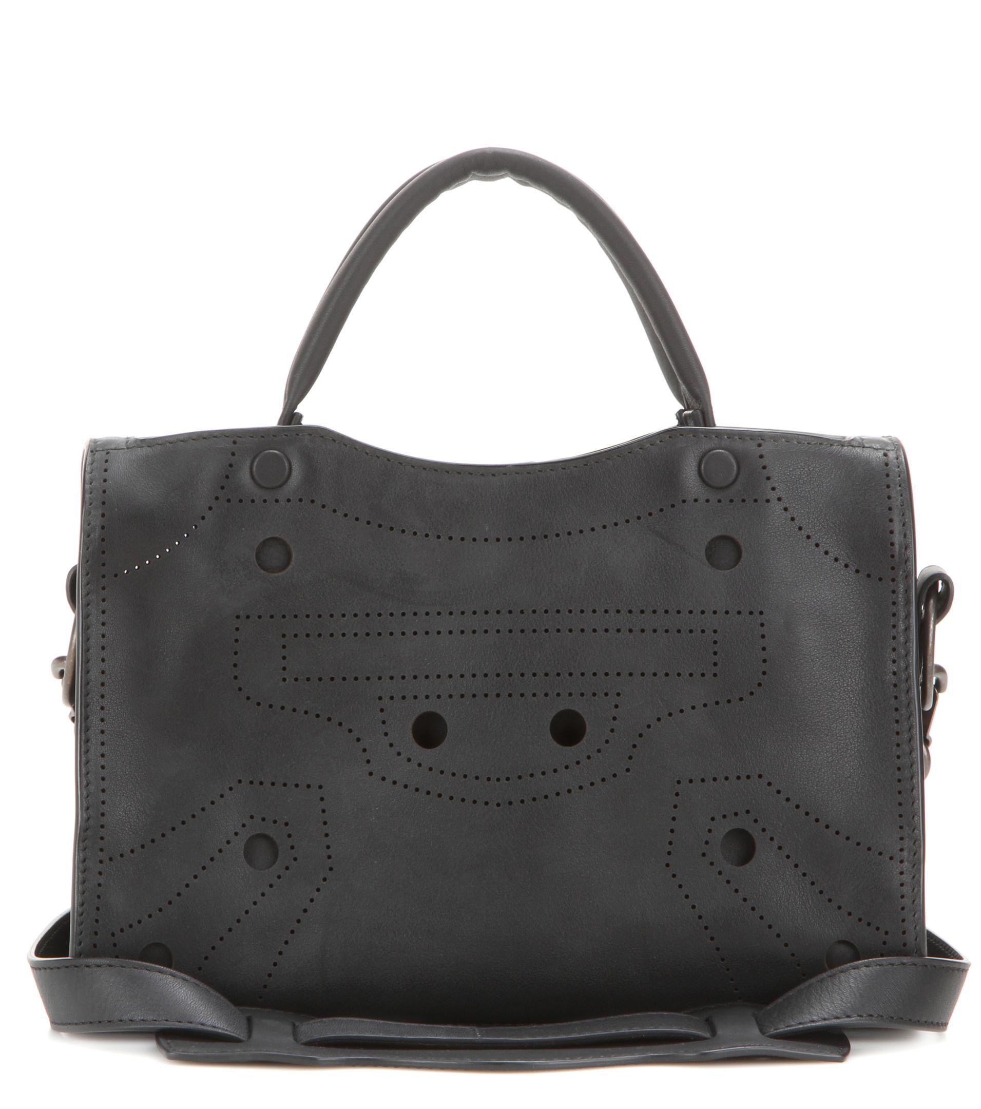 b736a040555 Balenciaga Blackout City Mini Leather Cross-body Bag in Black - Lyst